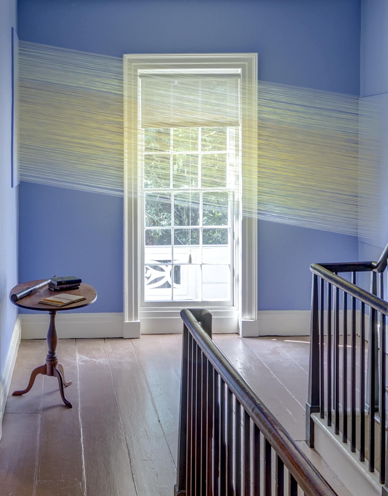 Anne Lindberg ,  sun come purple,  2018, thread staples at Thomas Cole National Historic Site, Catskill, NY - Photography Credit: © Peter Aaron / OTTO