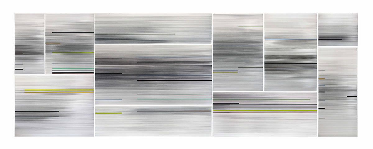 Anne Lindberg,  I begin with the river , 2019, graphite and colored pencil on mat board, 11 panels, 9 by 25ft, titled from  think like the river  poem by Ginny Threefoot