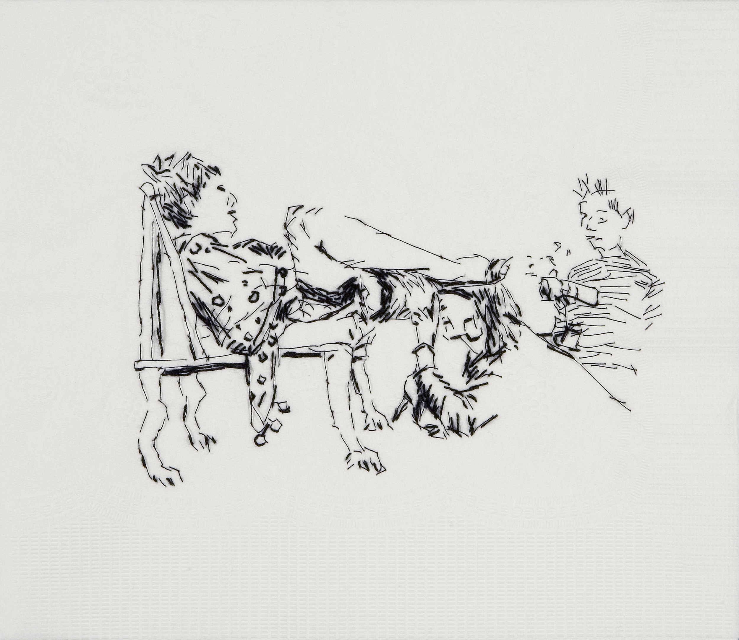 "Sister Wife Annie (Public Cervix Announcement, 1989)  Black thread on paper napkin, 7.5"" x 8.5"", 2008"