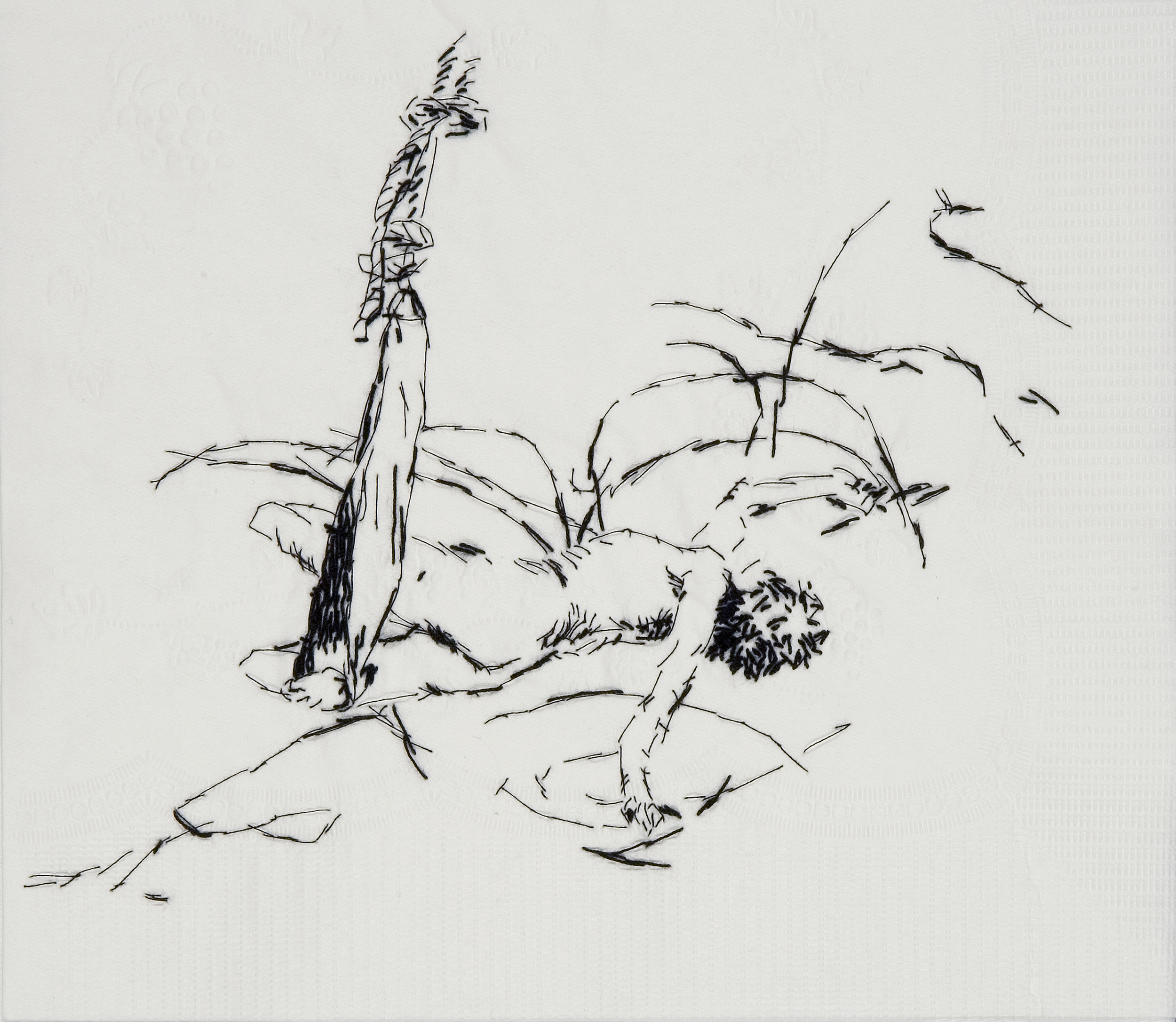 "Sister Wife Carolee (Up to and Including Her Limits, 1973-76)  Black thread on paper napkin, 7.5"" x 8.5"", 2008"