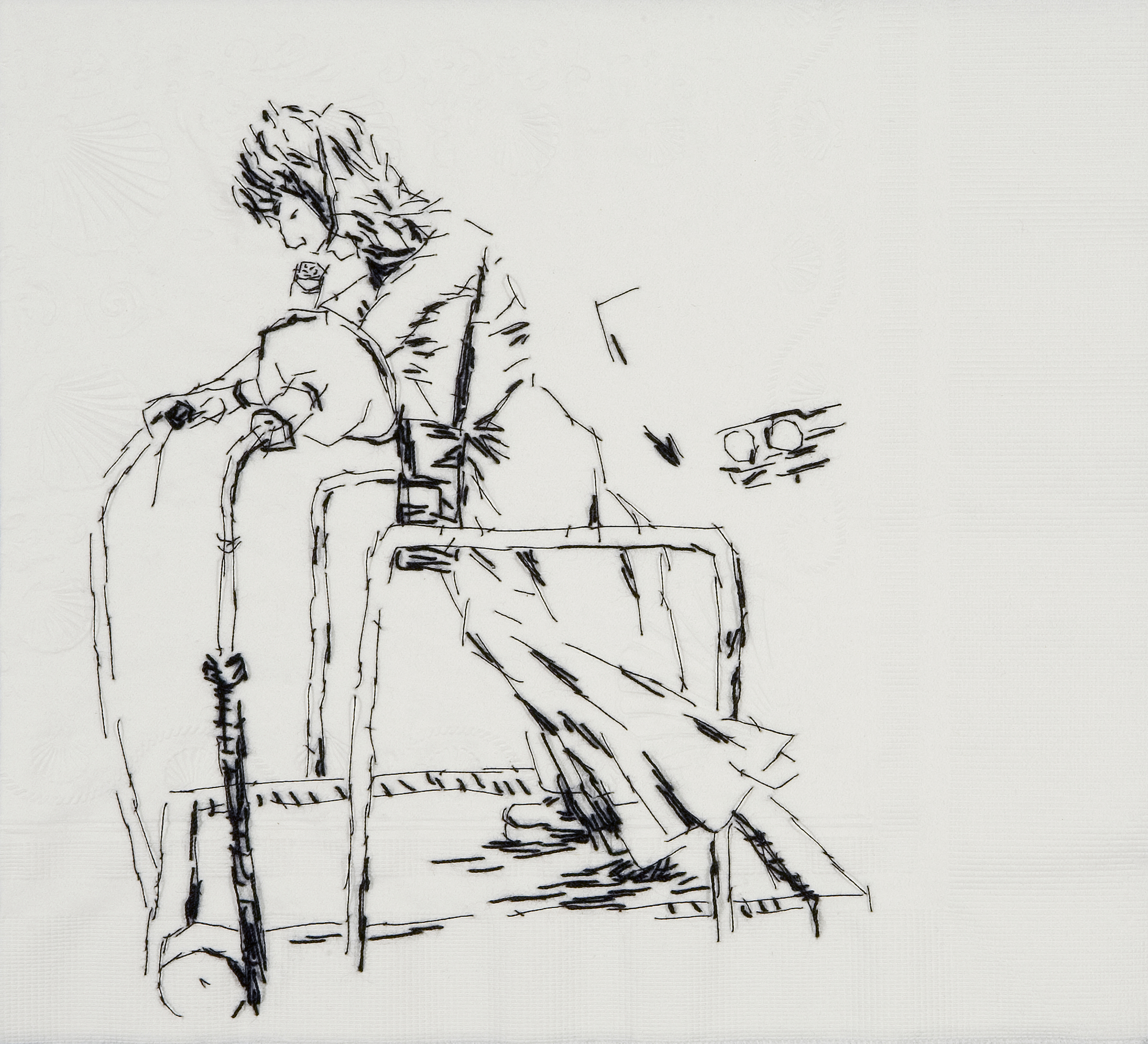 "Sister Wife Linda (The Story of My Life, 1973)  Black thread on paper napkin, 7.5"" x 8.5"", 2008"