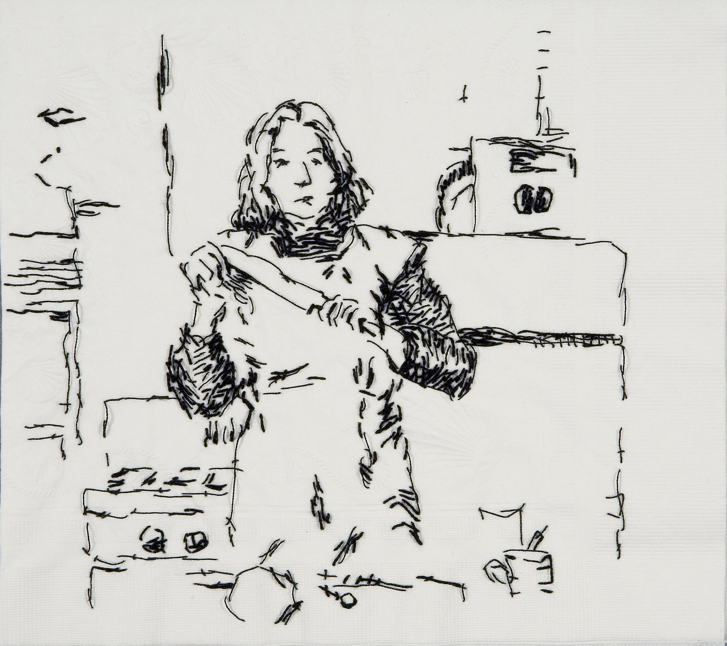 "Sister Wife Martha (Semiotics of the Kitchen, 1975)  Black thread on paper napkin, 8"" x 8.5"", 2008"