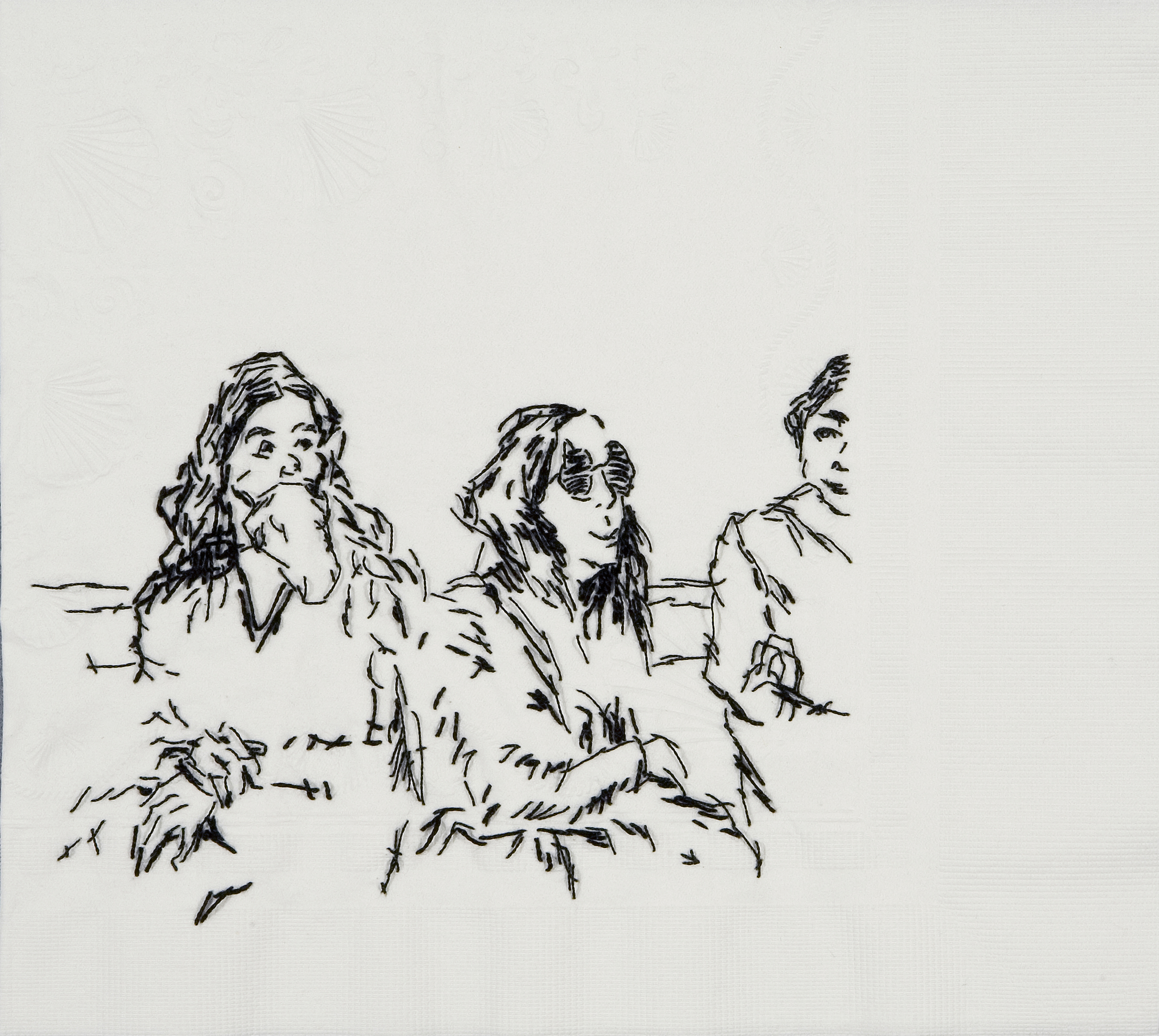 "Sister Wife Adrian (Catalysis III, 1970)  Black thread on paper napkin, 8"" x 8.5"", 2008"