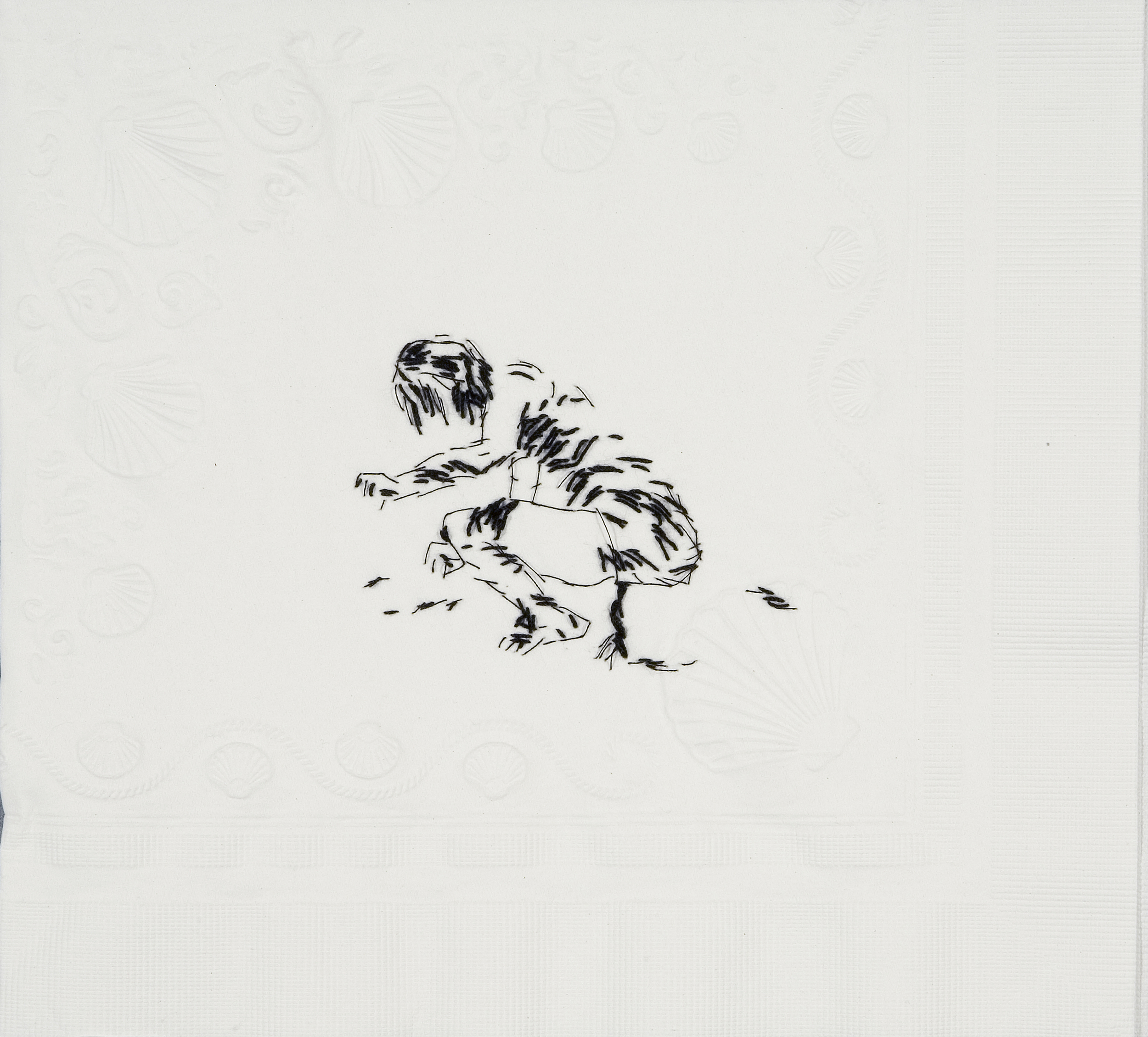"Sister Wife Shigeko (Vagina Painting, 1965)  Black thread on paper napkin, 7.5"" x 8.5"", 2008"
