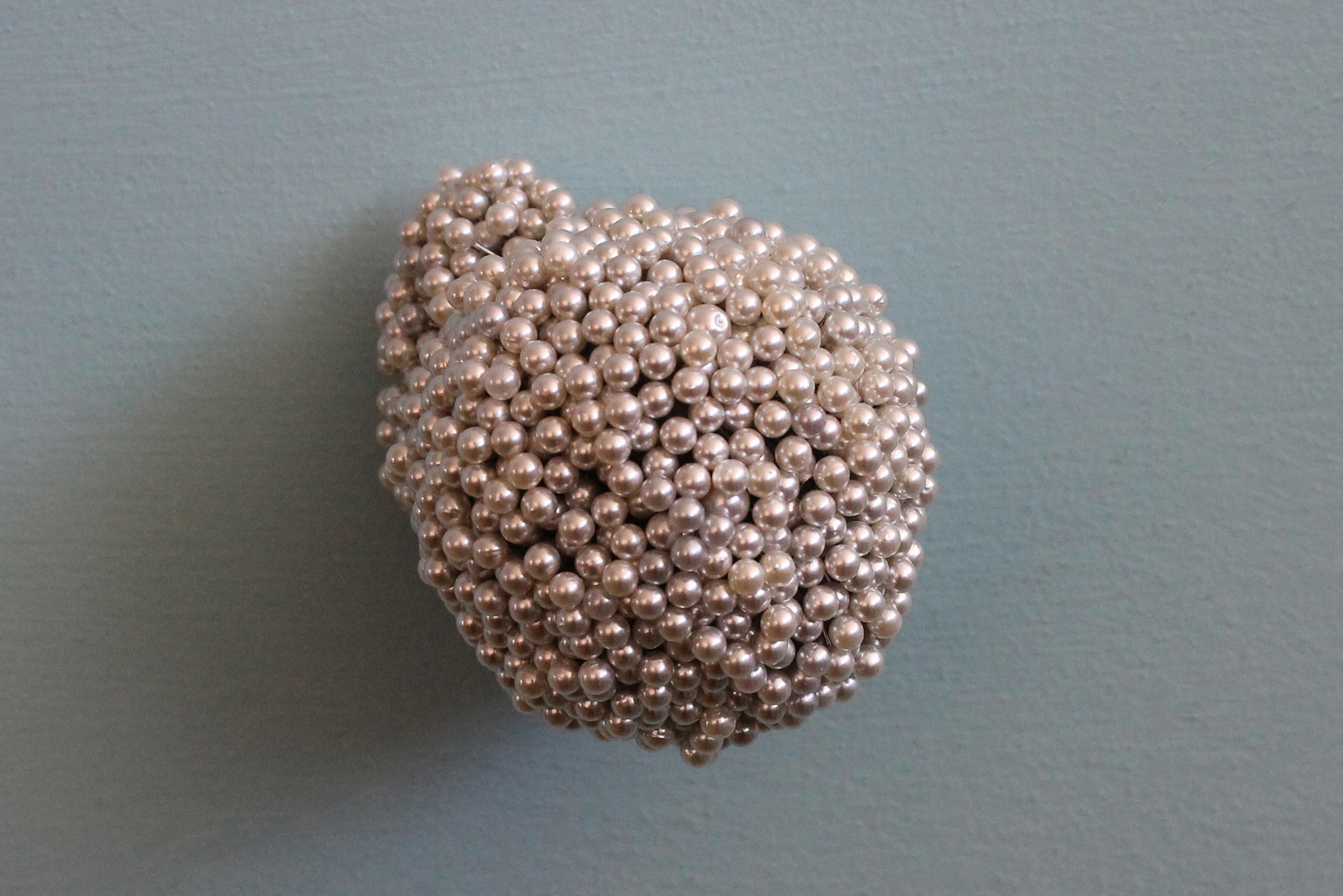 "Tickler #7  Pearl corsage pins, brass, industrial foam, 2 3/4"" x 5 3/8"" x 1 3/4"", 2012"