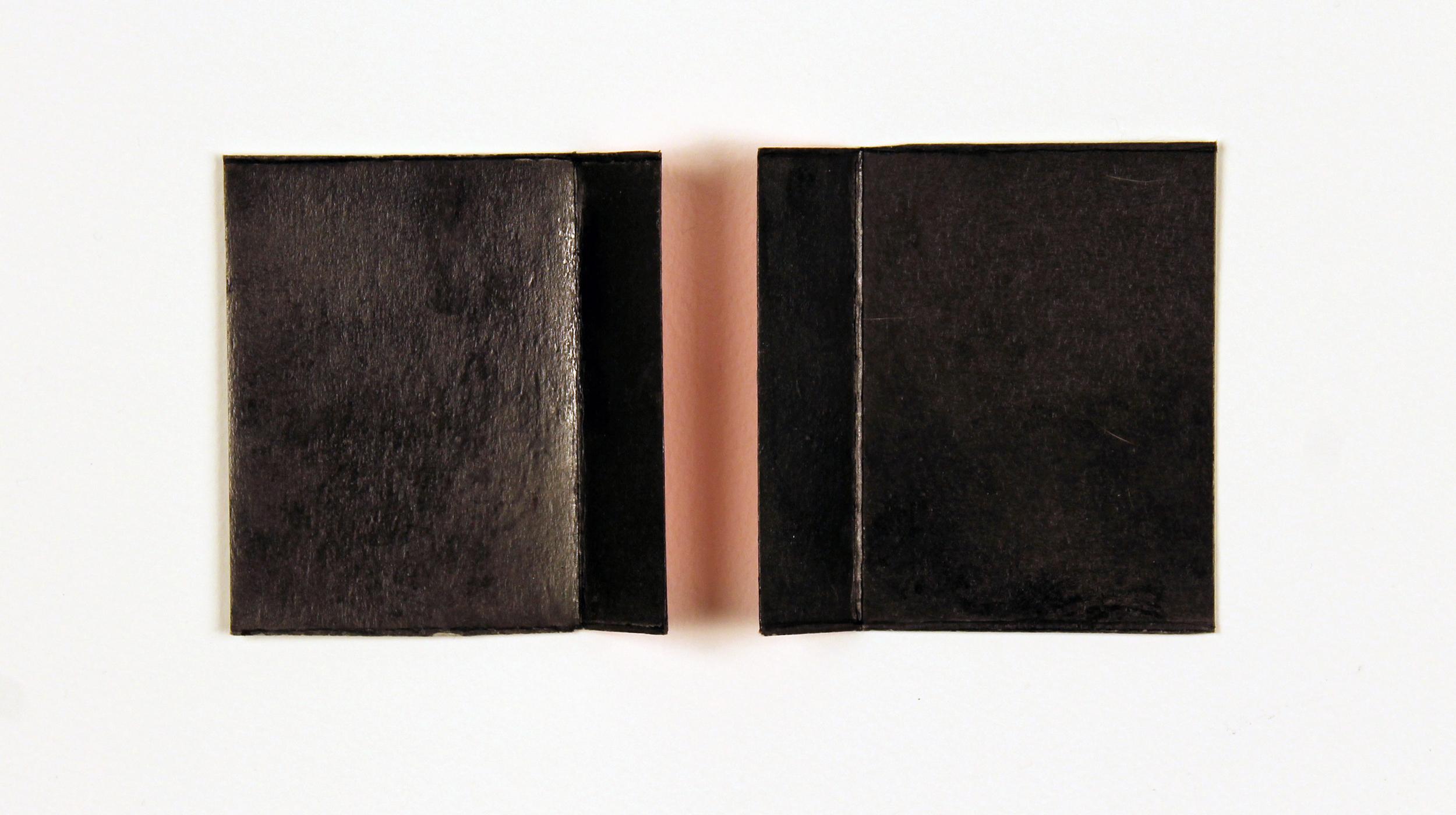 "Chroma (Red for Derek Jarman)  Graphite powder, silkscreened pigment, archival wax on cardboard, 12.25"" x 15.25"" (framed), 2013"
