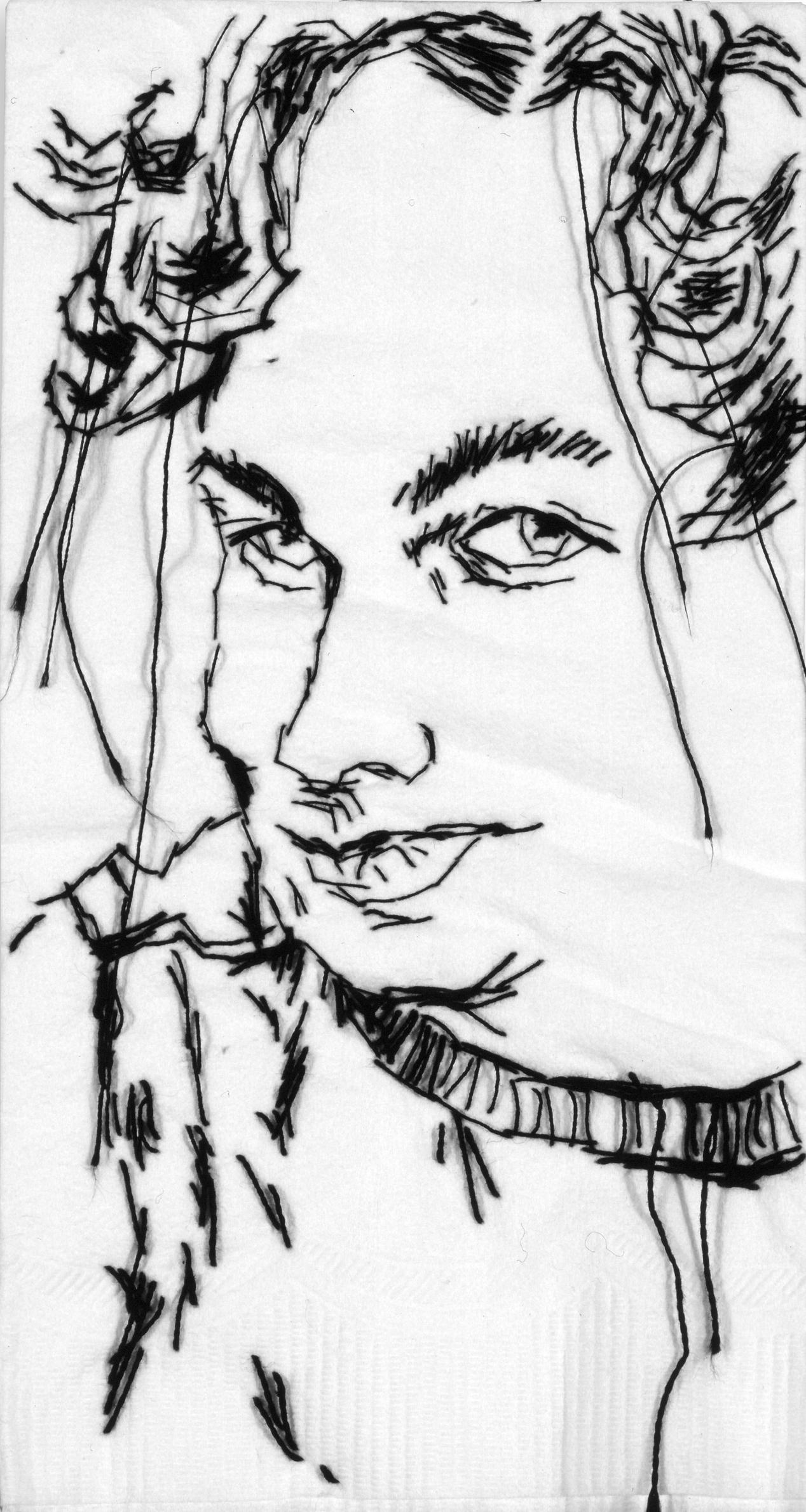 "Alex  Black thread on paper napkin, 7"" x 4"", 2005"