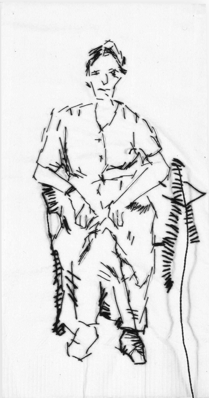"Claire  Black thread on paper napkin, 7"" x 4"", 2005"