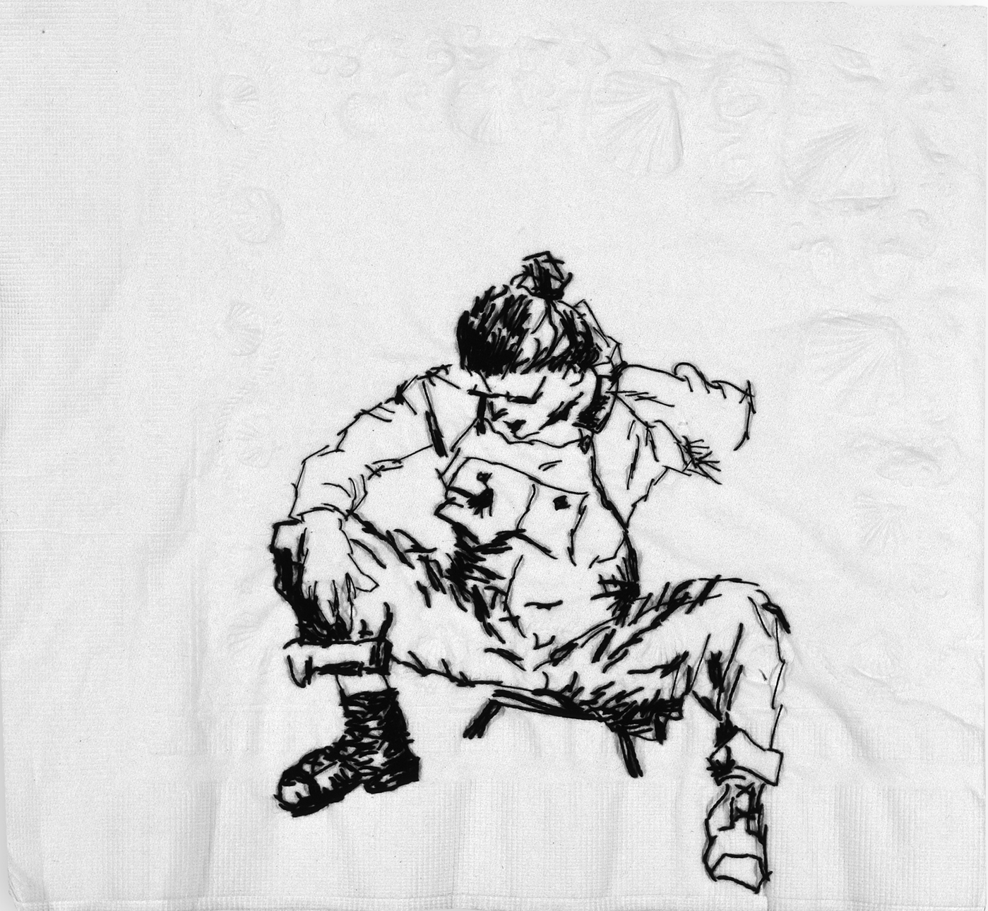 "Eliza  Black thread on paper napkin, 8"" x 8.5"", 2005"