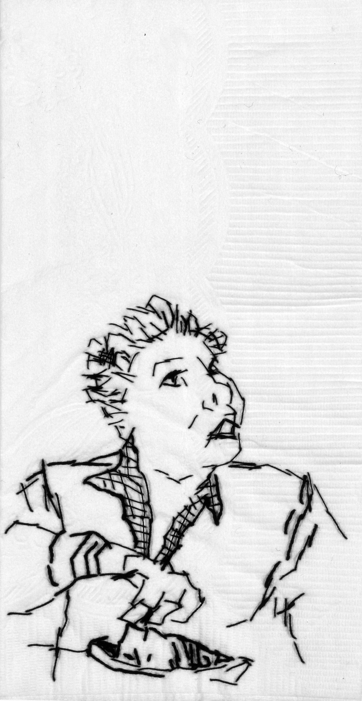 "Granny (Laureta)  B lack thread on paper napkin, 7"" x 4"", 2005"