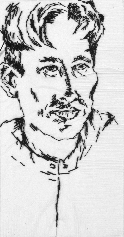 "Rose  Black thread on paper napkin, 7"" x 4"", 2005"