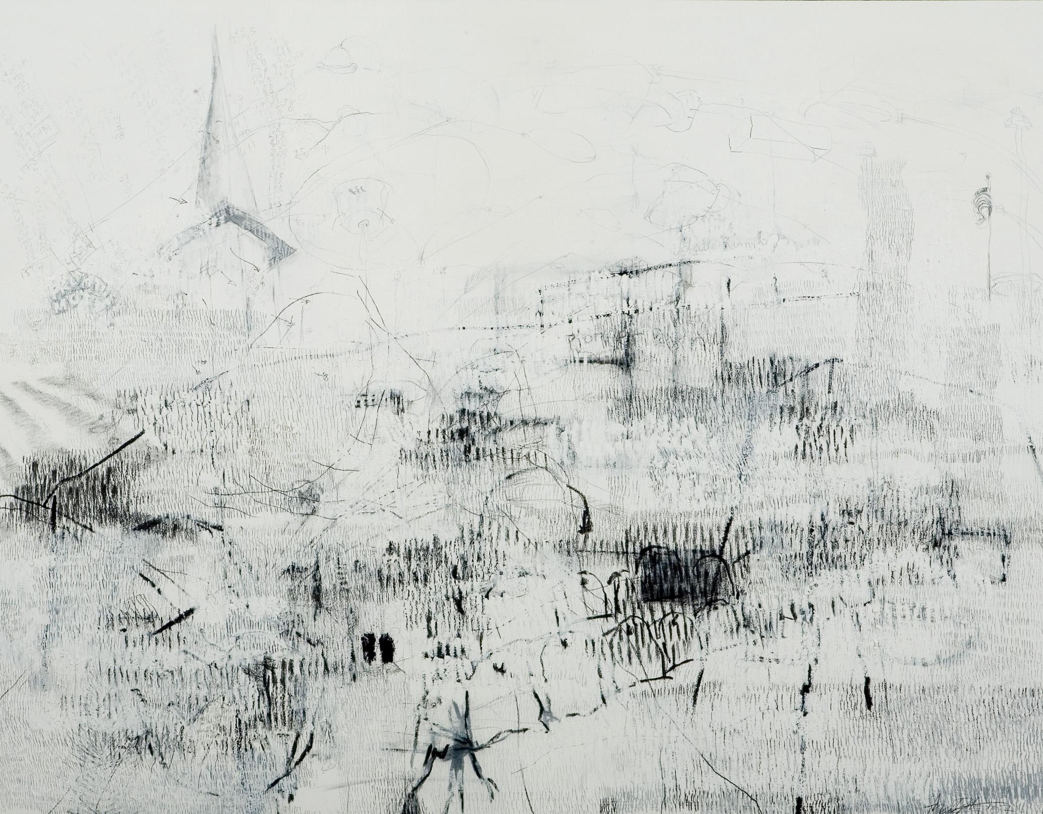 """25,004 Steps to Sandra/Mom (Mesa)  Graphite, charcoal, white pigment, oil stick, 42"""" x 54"""", 2007"""