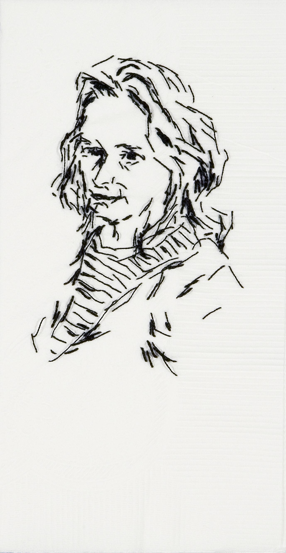 "Meg  Black thread on paper napkin, 7"" x 4"", 2008"