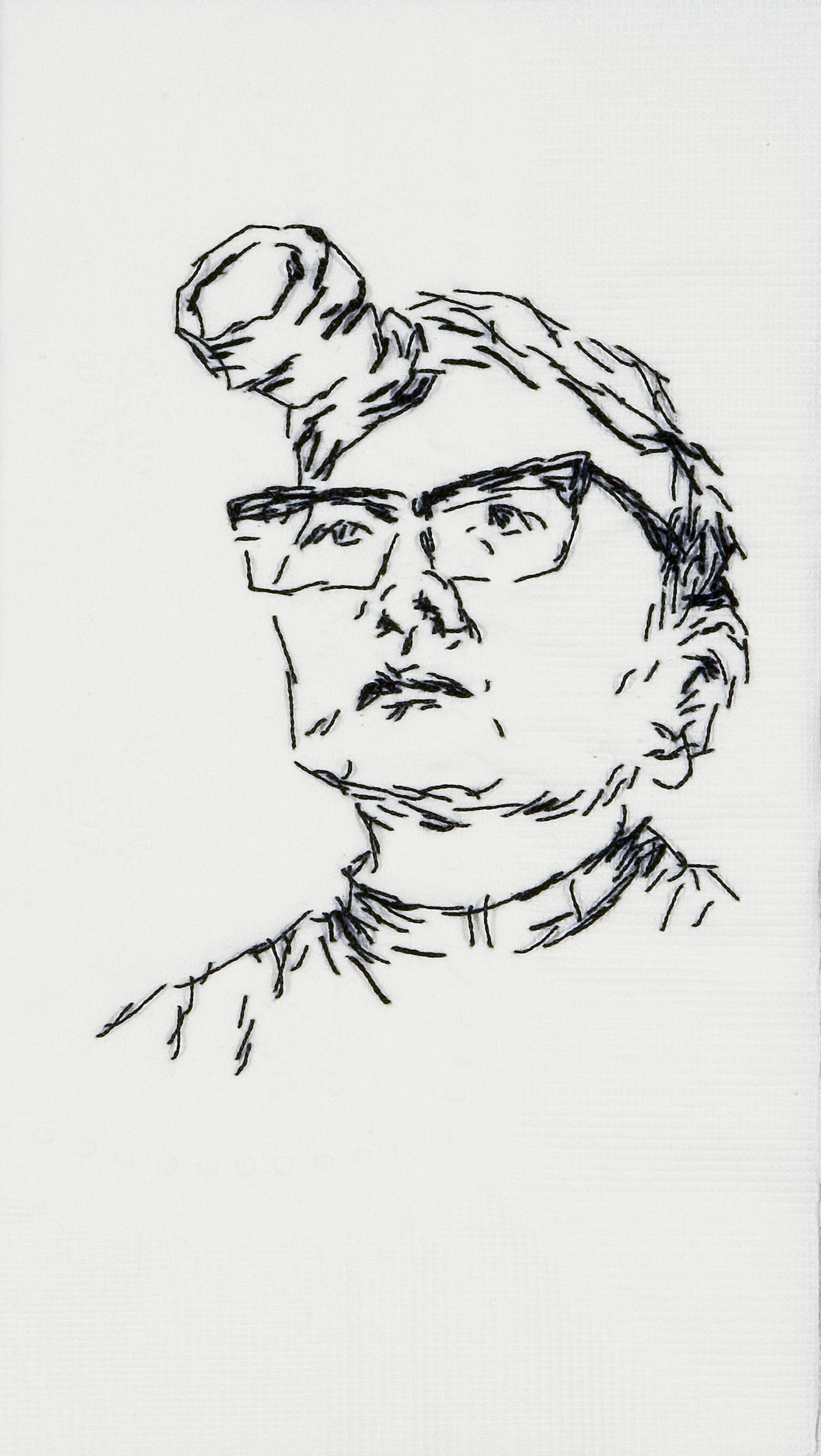 "Tina  Black thread on paper napkin, 7"" x 4"", 2008"