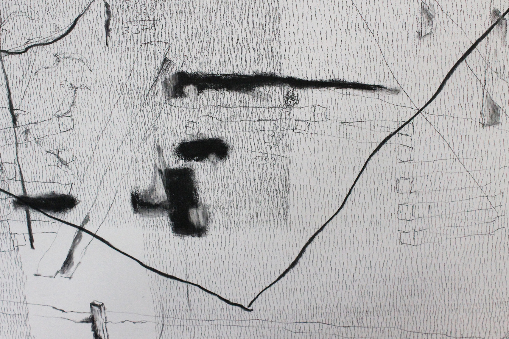 """37,702 Steps to the Cutlers (NYC and East Hampton) (detail) Charcoal and graphite on wood, 62"""" x 48"""", 2011-2012"""