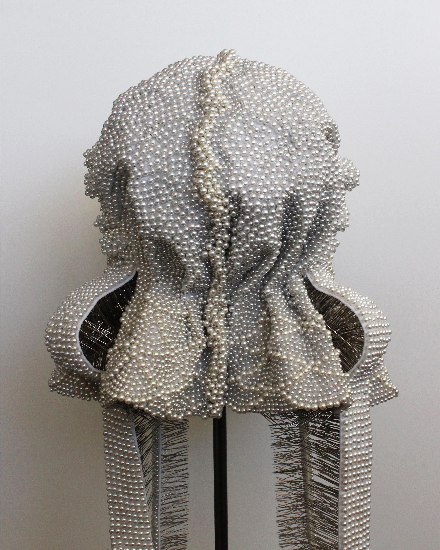 "Seer Bonnet XXVII (Hanna) (detail) 21,841 pearl corsage pins, fabric, steel, 62"" x 12"" x 14"", 2012-2013"