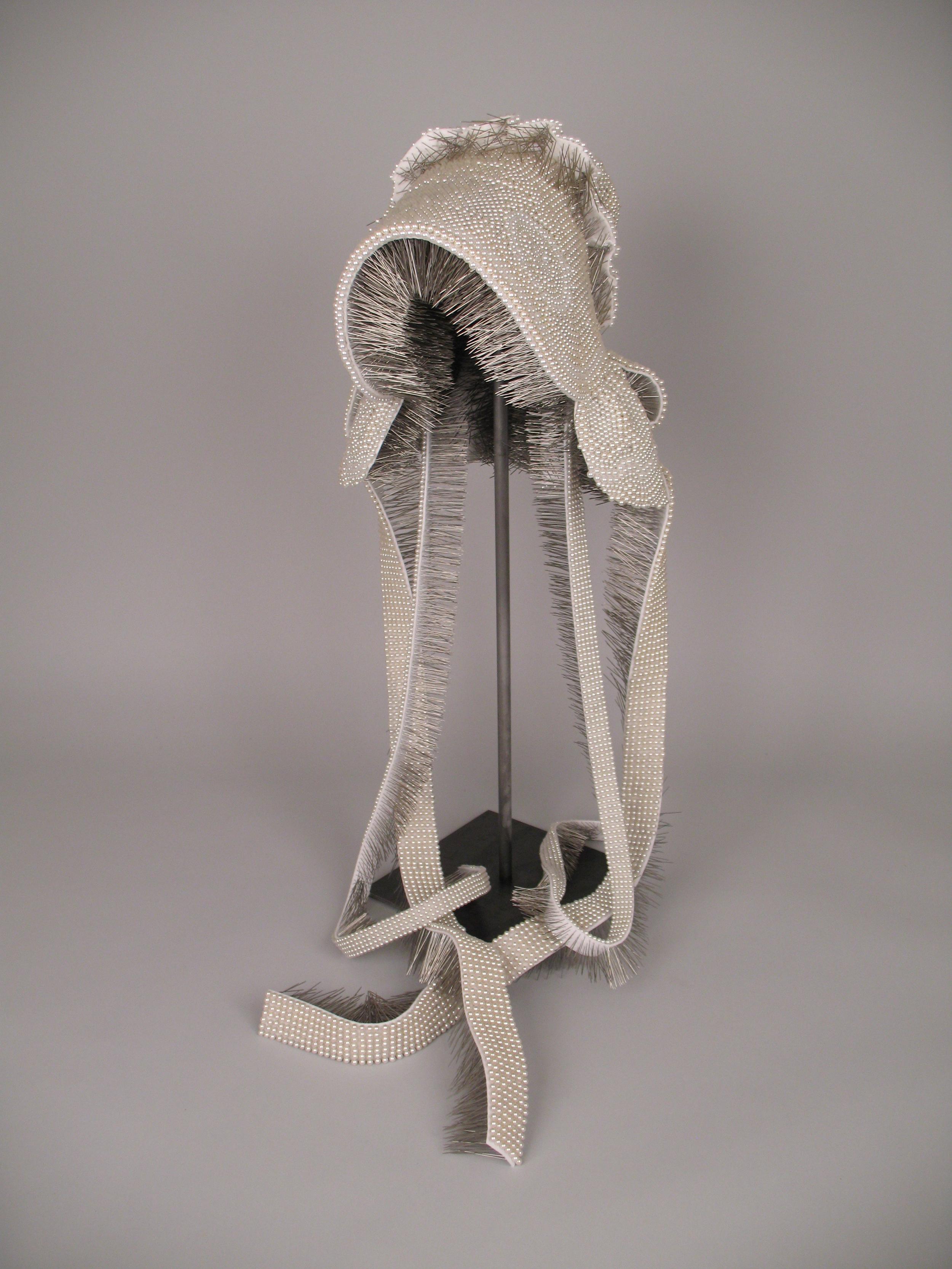 "Seer Bonnet XVI  16,194 pearl corsage pins, fabric, steel, 29"" x 12.5"" x 13.5"", 2010-2011"