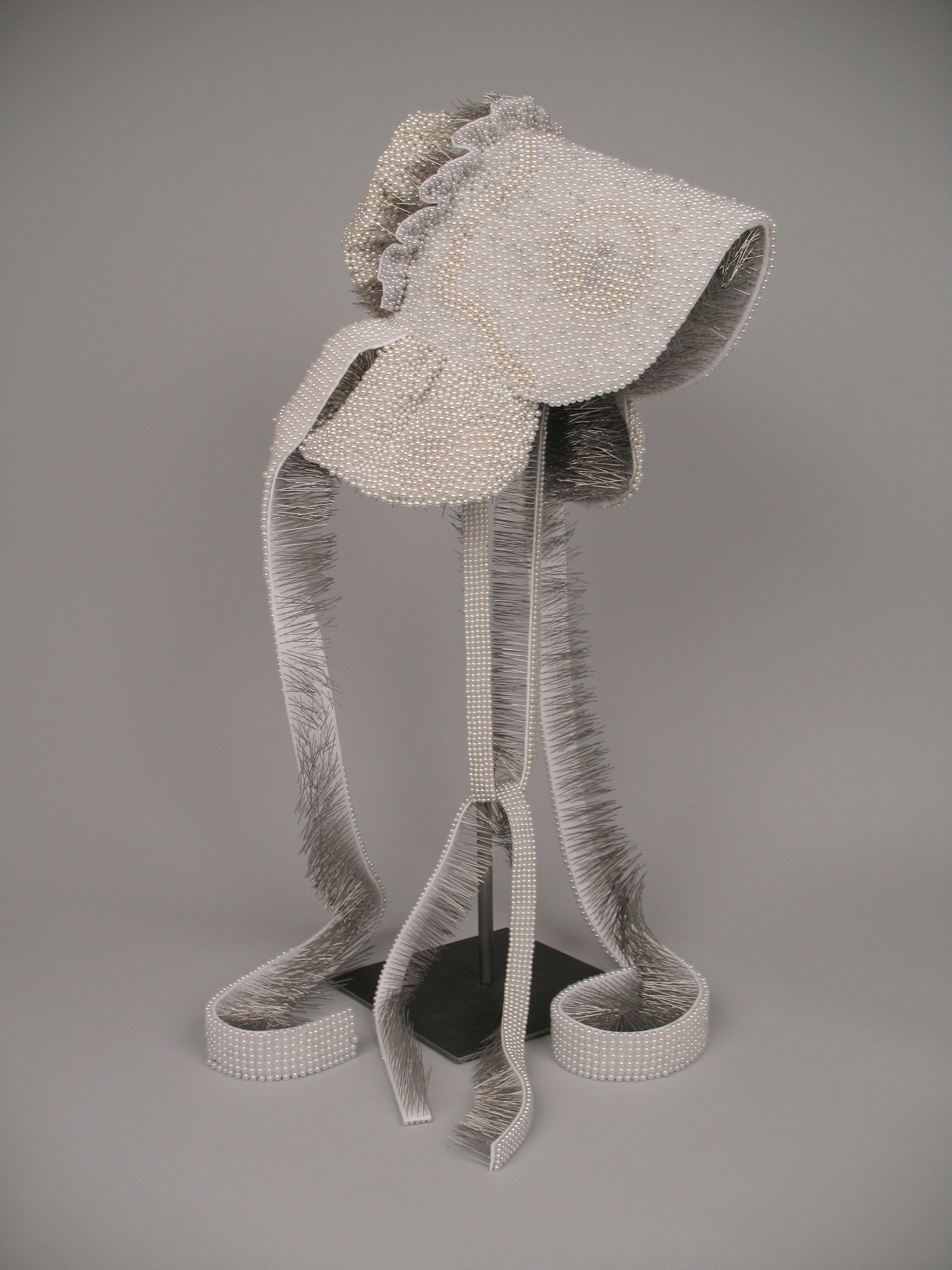 "Seer Bonnet XIII  14,052 pearl corsage pins, fabric, steel,29"" x 12"" x 15"", 2010"