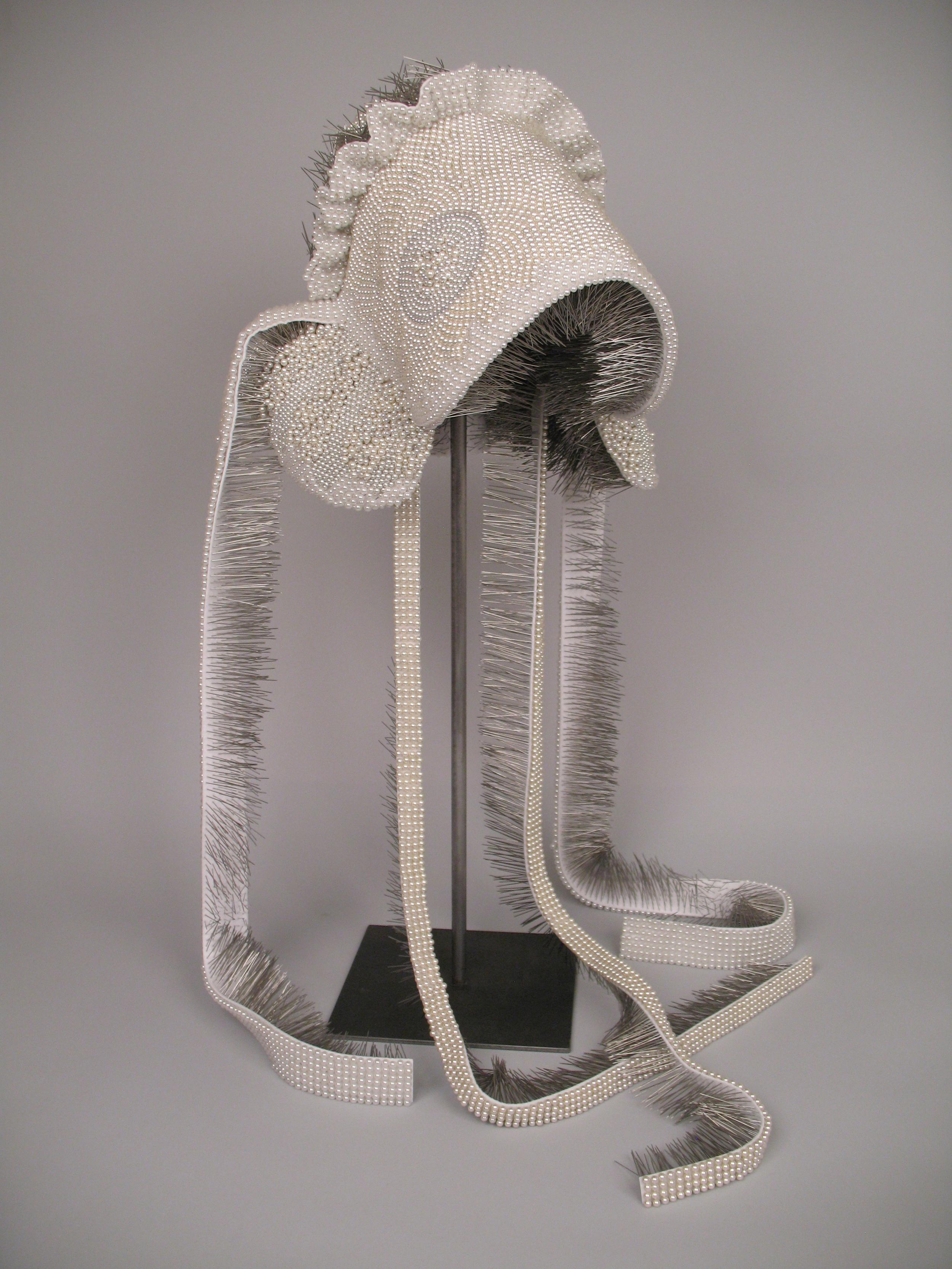 "Seer Bonnet X  17,214 pearl corsage pins, fabric, steel, 56"" x 12"" x 15"", 2010"