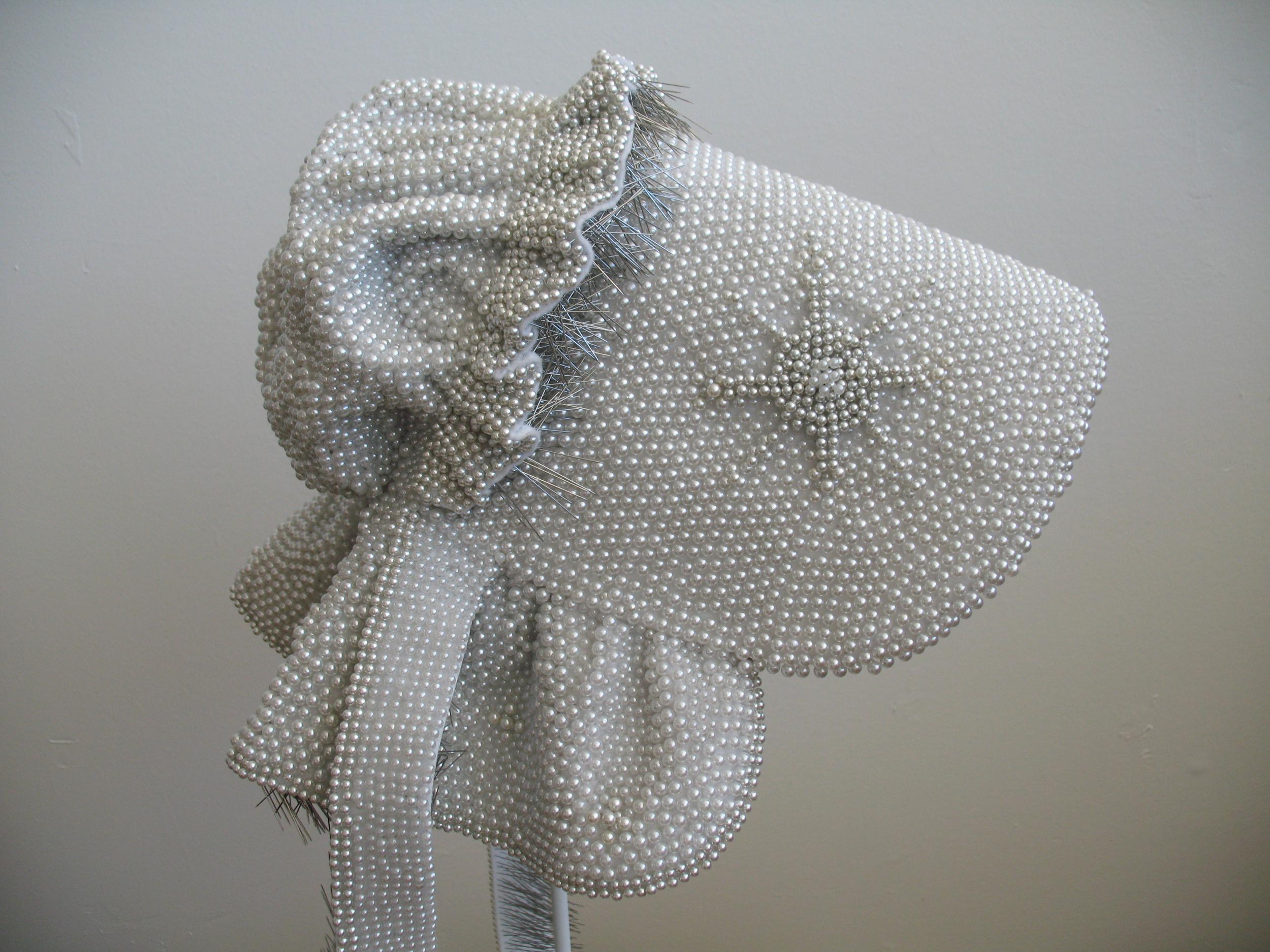 "Seer Bonnet VII  15,342 pearl corsage pins, fabric, steel, 24"" x 13"" x 16"", 2009-2010"