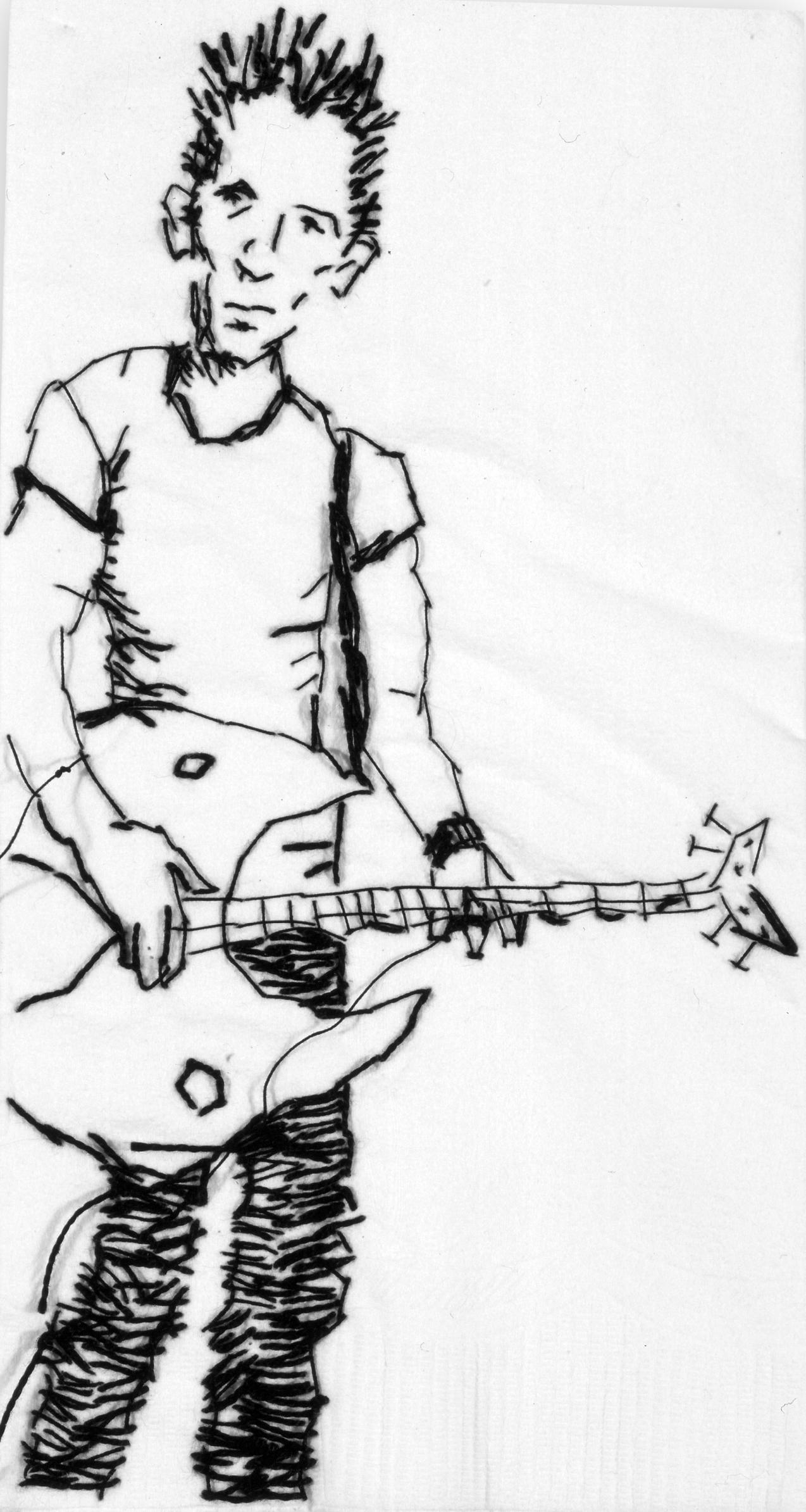 "Jason  Black thread on paper napkin, 7"" x 4"", 2005"