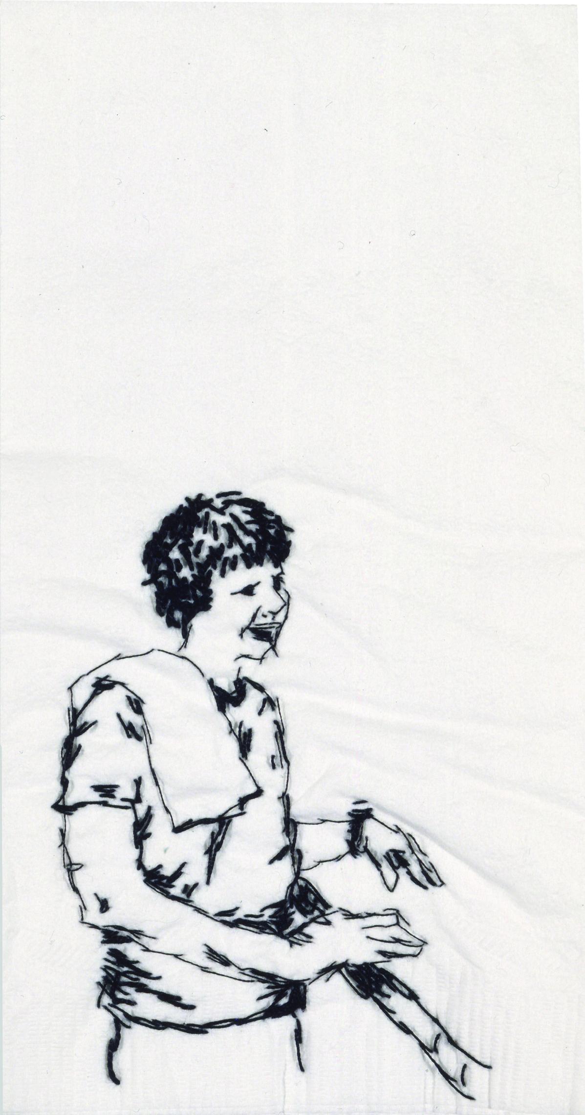 "Molly  Black thread on paper napkin, 7"" x 4"", 2005"