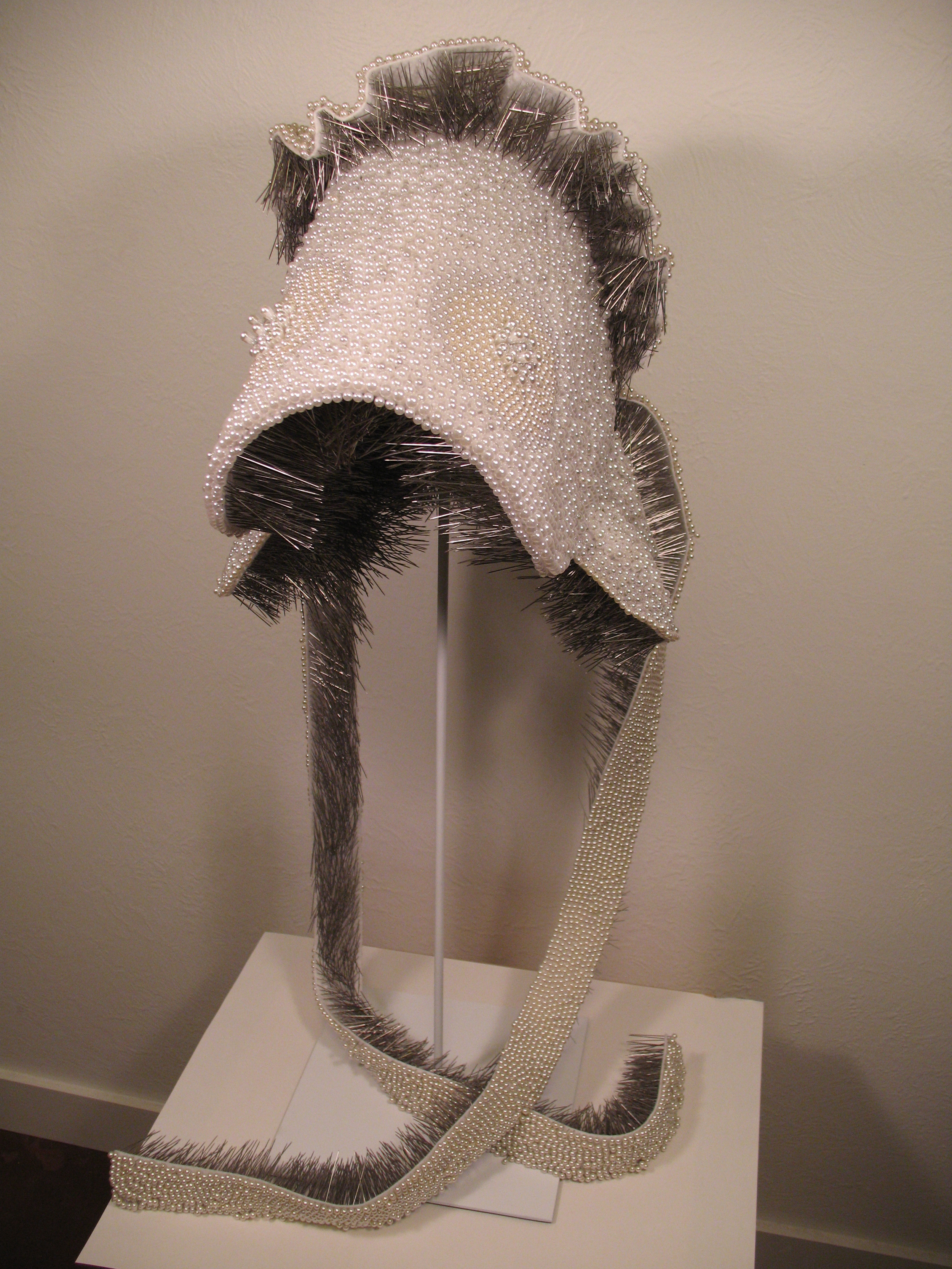 Seer Bonnet III  14,164 pearl corsage pins and fabric, 2008