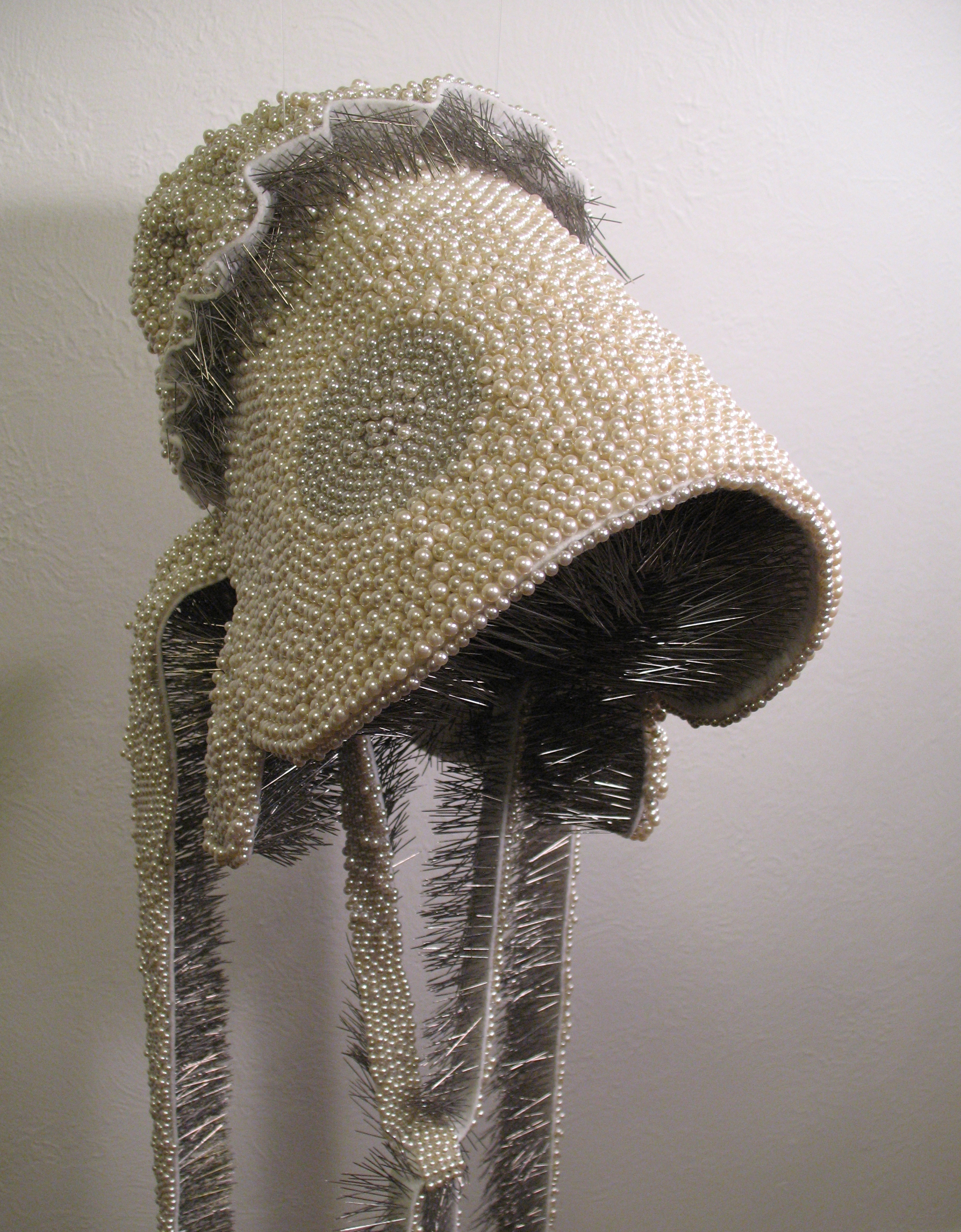 Seer Bonnet II  16,120 pearl corsage pins and fabric, 2008