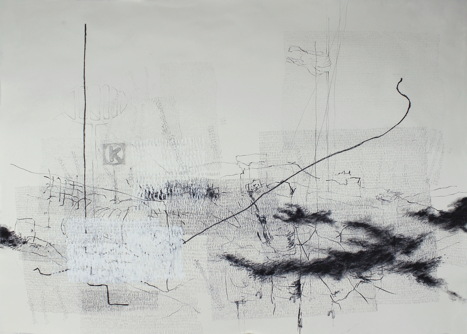 """31,014 Steps to Hobart (Phoenix) Graphite, charcoal, oil on paper,  17.5"""" x 25.2"""", 2010"""
