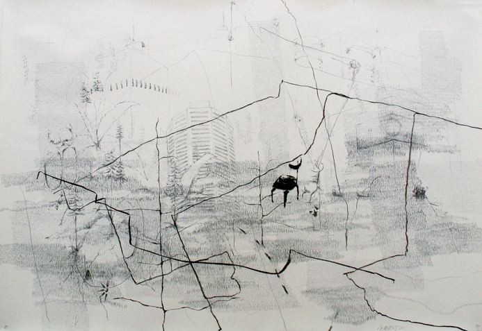 """26,418 Steps to Melbourne , Graphite, charcoal, oil on paper,  17.5"""" x 25.2"""", 2011"""