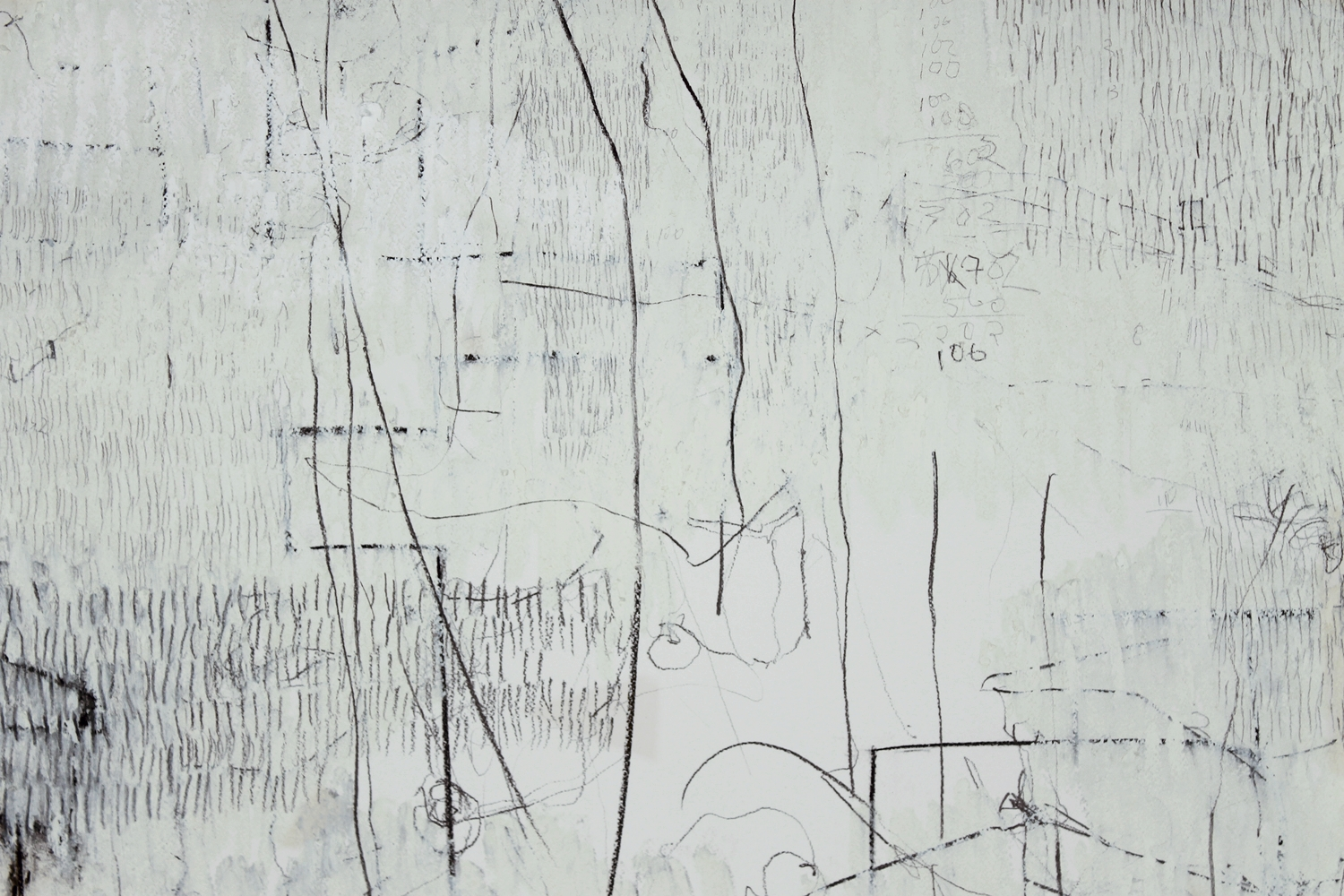 """7,930 Steps to Tania (McDowell Road) (detail), Graphite, charcoal, oil on paper,14.2"""" x 17.5"""", 2010"""