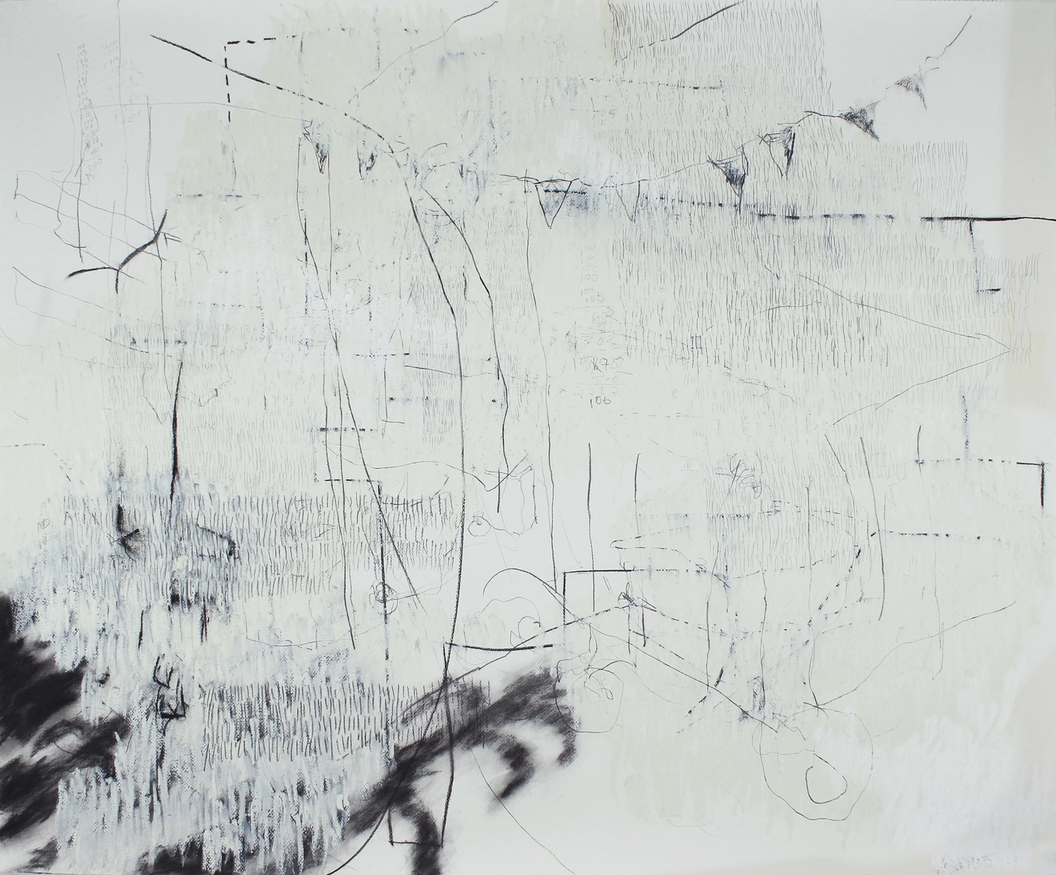 """7,930 Steps to Tania (McDowell Road),  Graphite, charcoal, oil on paper,  14.2"""" x 17.5"""", 2010"""