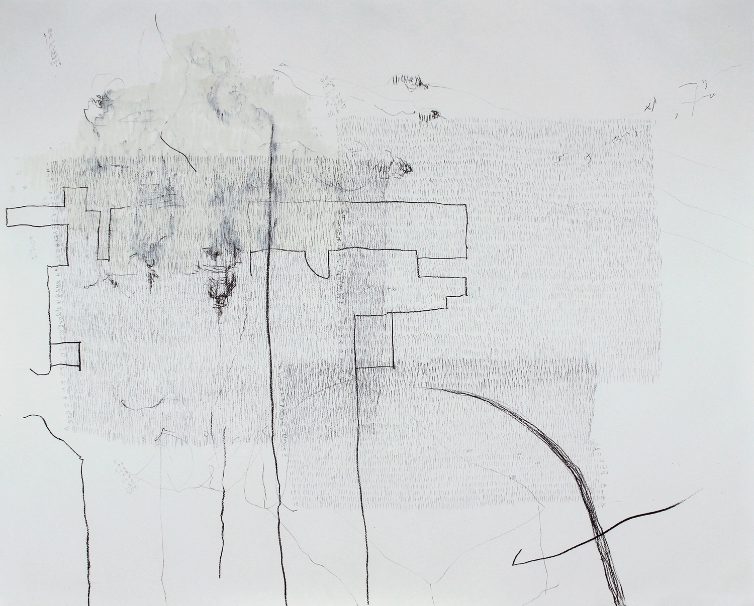 """10,639 Steps to Catch My Breath , Graphite, charcoal, oil on paper,  14.2"""" x 17.5"""", 2010"""