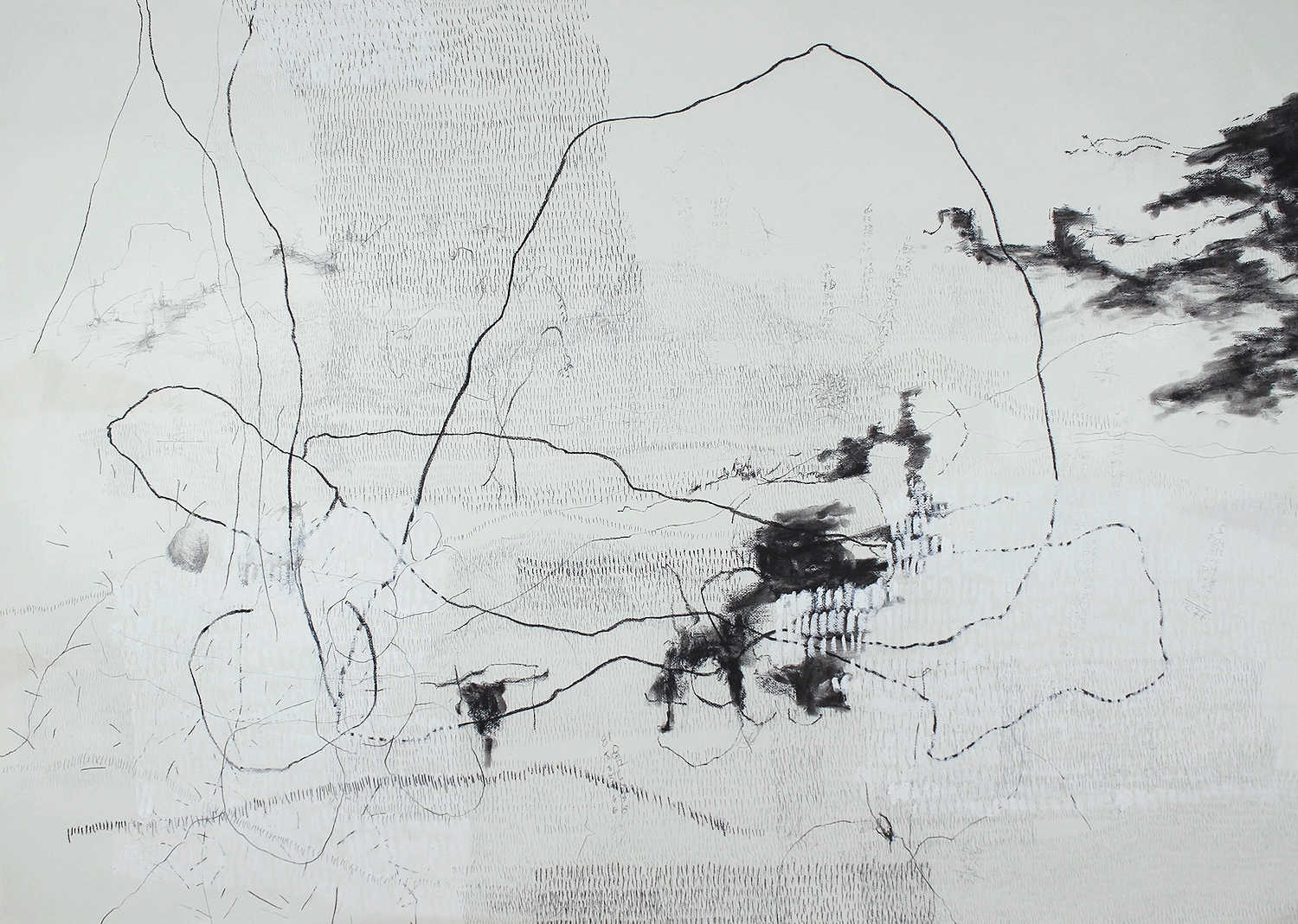 """18,672 Steps to Mount Wellington , Graphite, charcoal, oil on paper,17.5"""" x 25.6"""", 2010"""