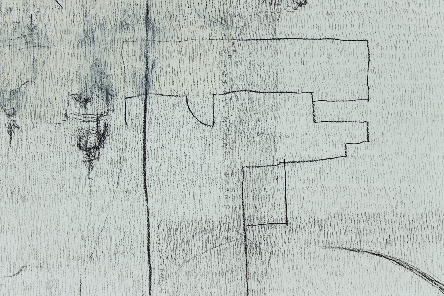 """10,639 Steps to Catch My Breath (detail) , Graphite, charcoal, oil on paper,14.2"""" x 17.5"""", 2010"""