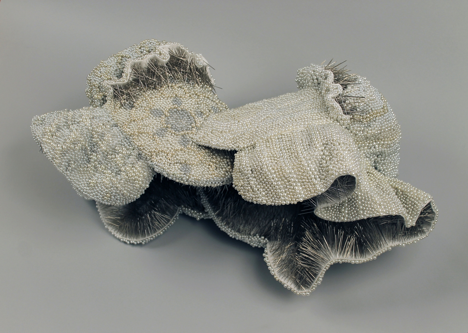 """Close to You, 25,747pearl corsage pins, fabric, steel, 12"""" x 24"""" x 13"""", 2013-2014"""