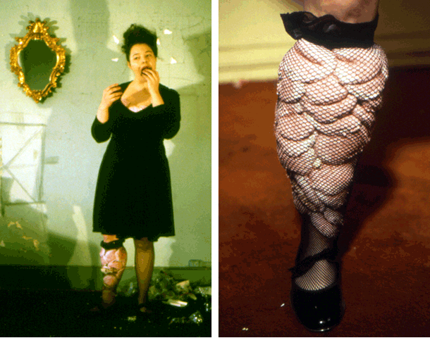 Her/She Senses: Misfit Attire   Angela Ellsworth and Tina Takemoto  Sisser Building, New Brunswick, New Jersey    For three hours, Takemoto sharpens chopsticks in an electric pencil sharpener bound up in her hair and stabs them into her dress. Meanwhile, Ellsworth pulls the marshmallow tops off of pink Hostess Snowballs and stuffs them into her fishnet stocking.