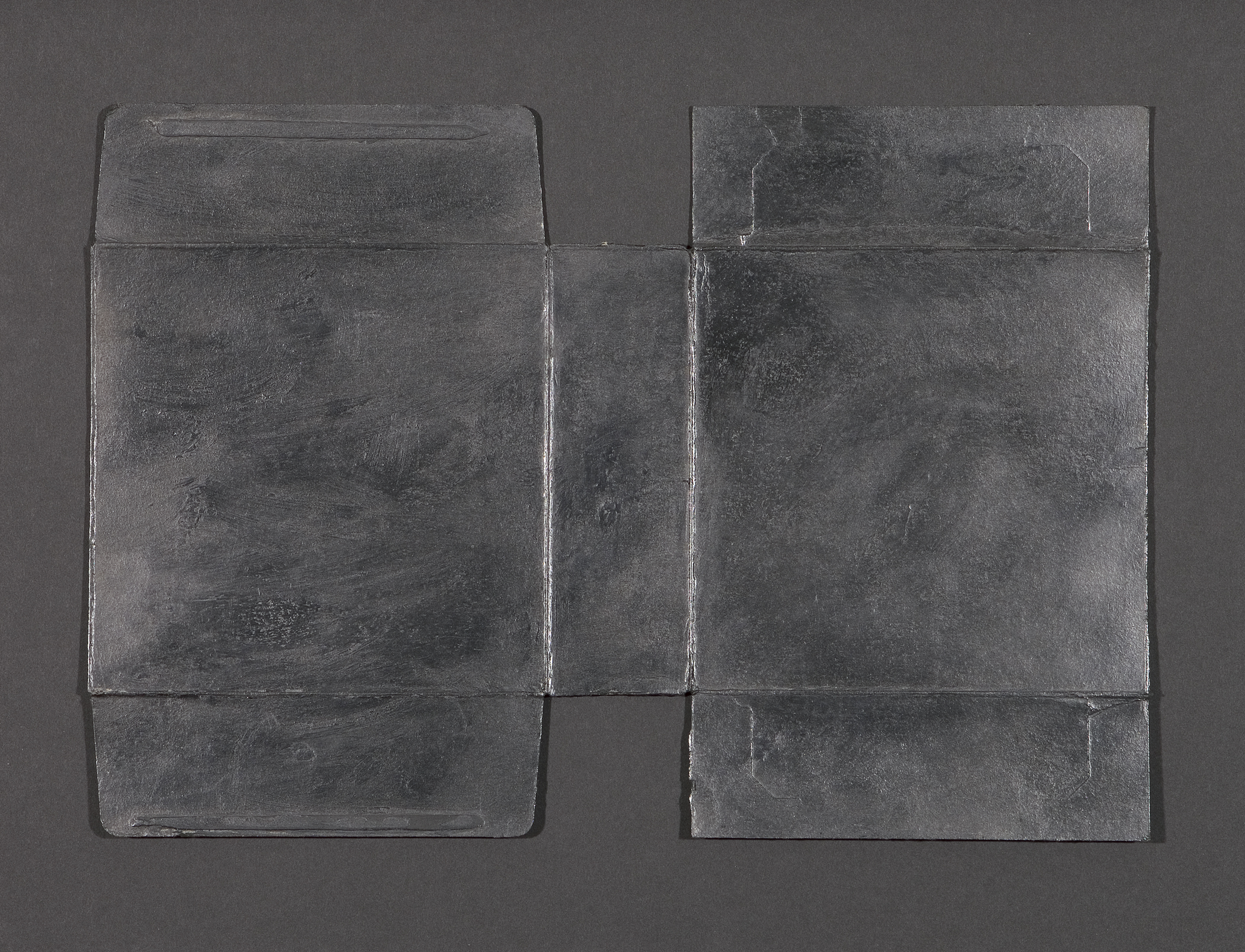 """Untitled Gesture (Couple)  Graphite powder and archival wax on cardboard, 9"""" x 13"""", 2013"""
