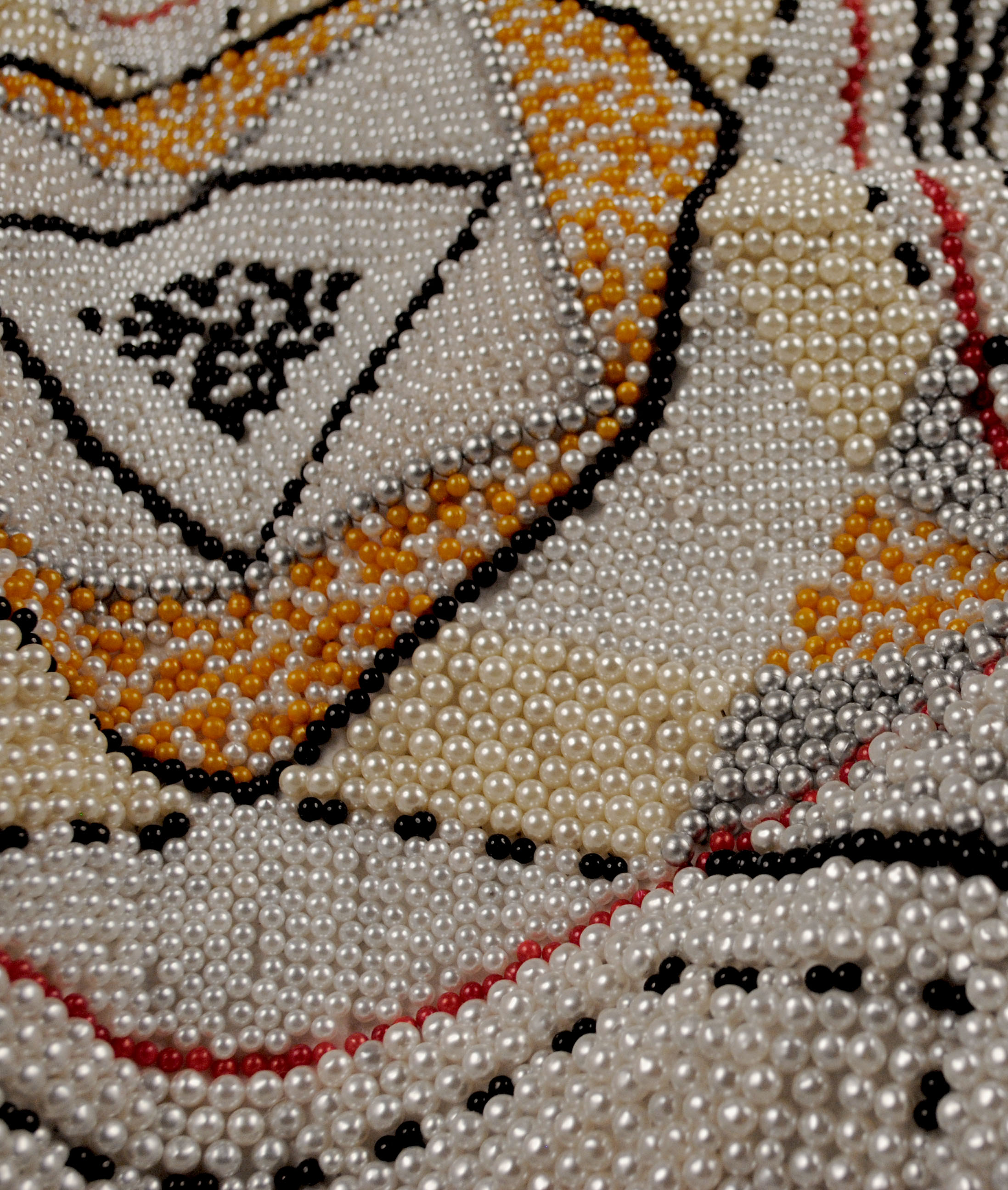 Pantaloncini: Work No. (indeterminate stillness) (Emma) (detail)  39,722 pearl corsage pins and colored dress pins, fabric, steel, 26 x 26 x 13 inches, 2017