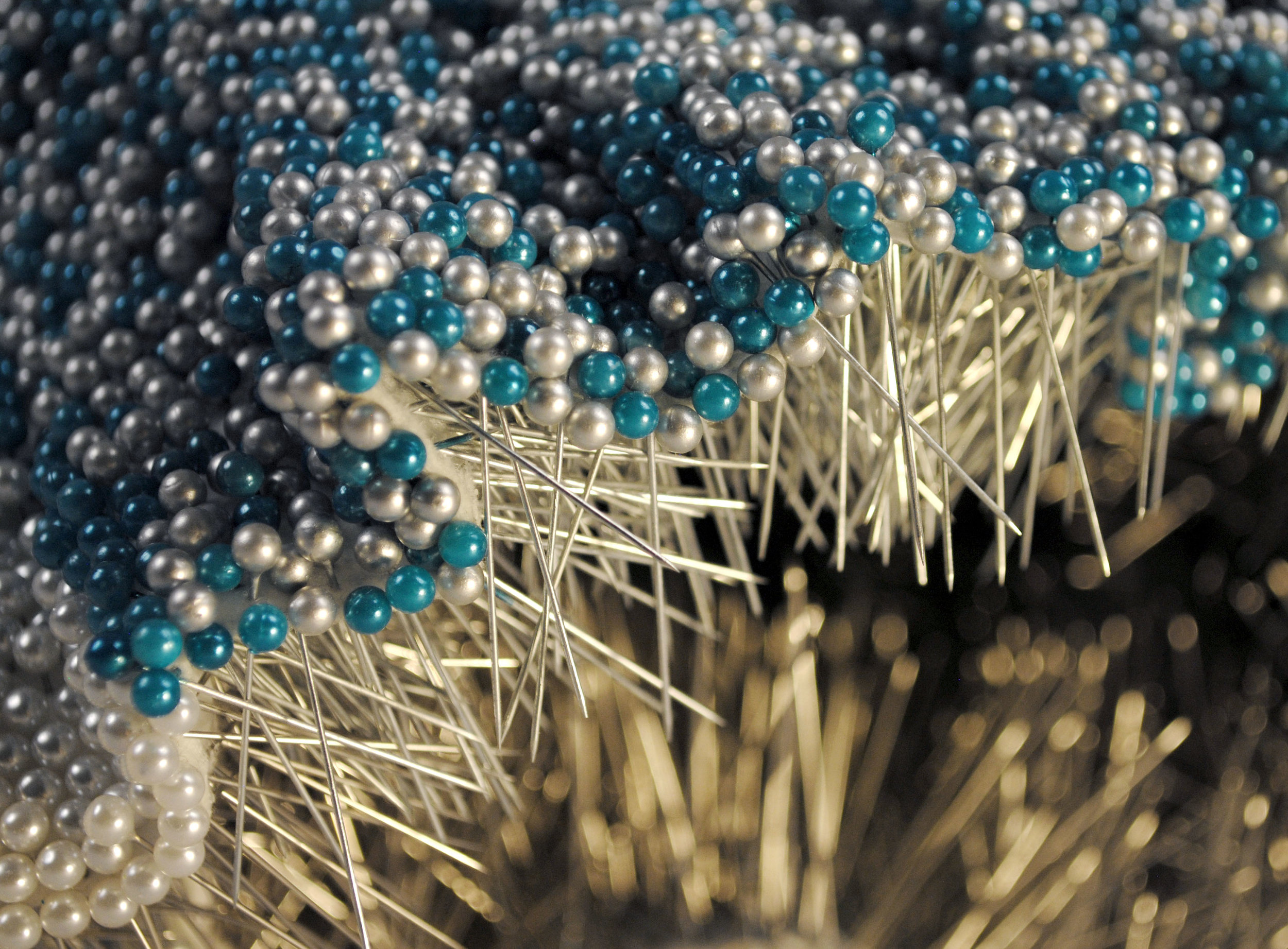 Pantaloncini: Work No. 069 (Emma)(detail)  52,692 pearl corsage pins and colored dress pins, fabric, steel, 28 x 38 x 17 inches, 2017