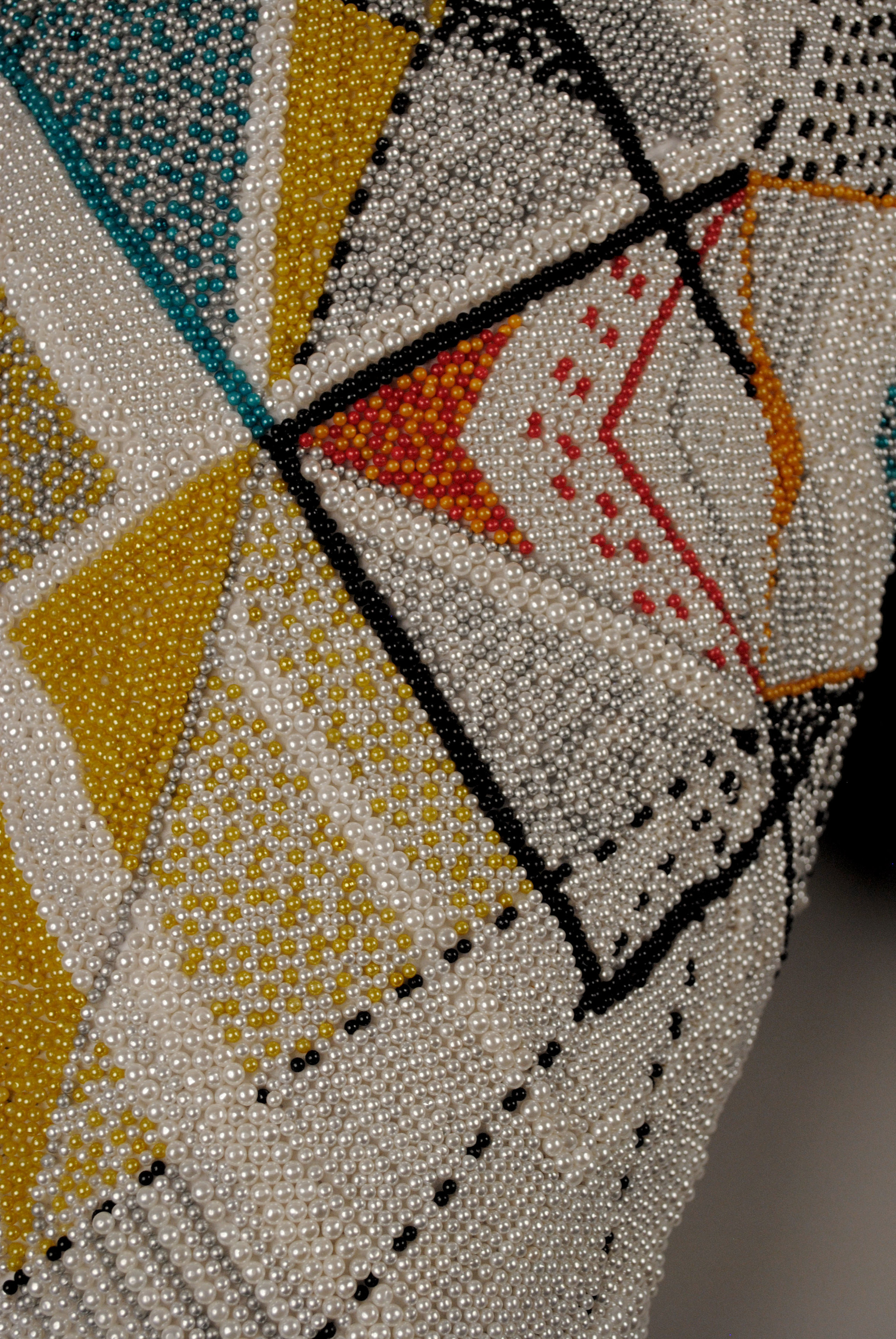 Pantaloncini: Work No. 069 (Emma) (detail)  52,692 pearl corsage pins and colored dress pins, fabric, steel, 28 x 38 x 17 inches, 2017