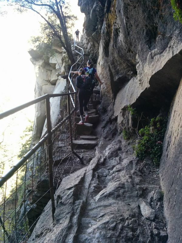 Climbing one steep section of the Mist Trail to get to an even steeper and rockier section.