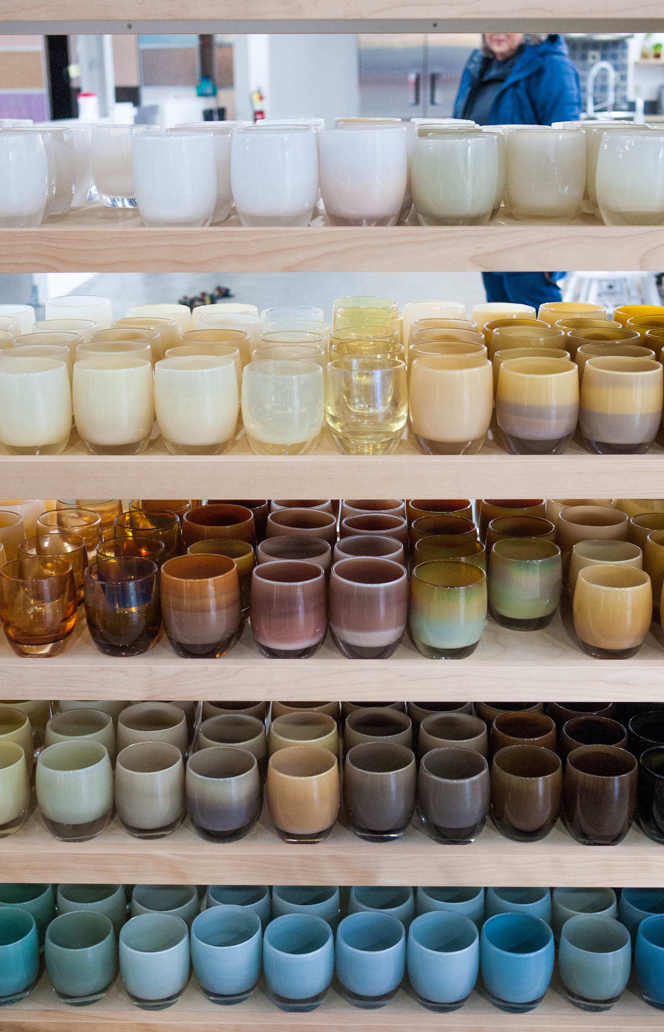 Each finished glassybaby if quality checked for stability, clarity, size and overall look. Here, finished glassbabys are ready to find new homes!