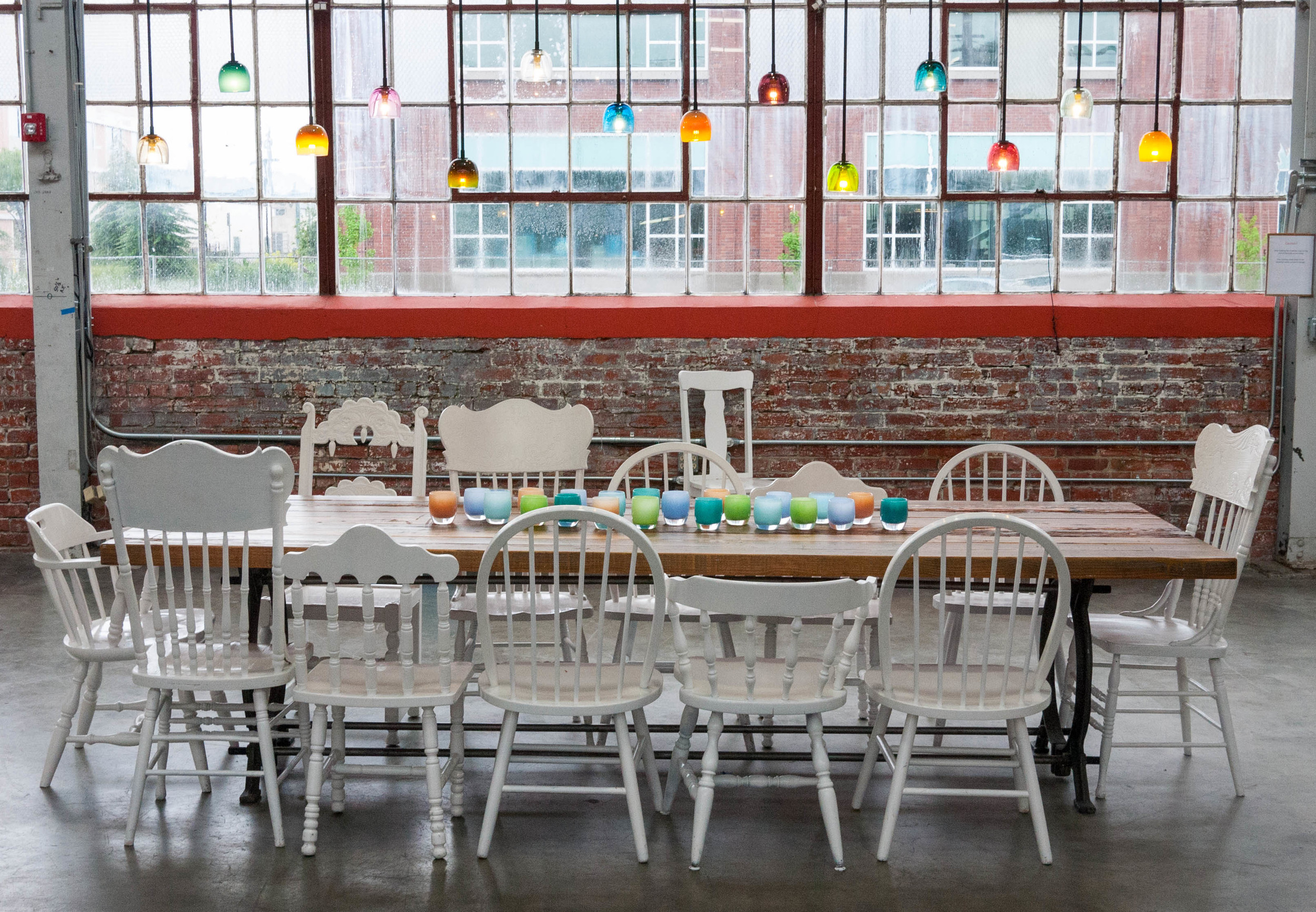 A portion of the glassybaby space is available for events. Rent it for a party, a yoga retreat, a meeting. Anything, they say!