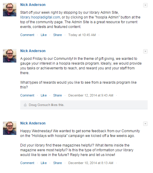Community Chatter feed. Stay in the loop with updates on what's going on in hoopla or the Community.