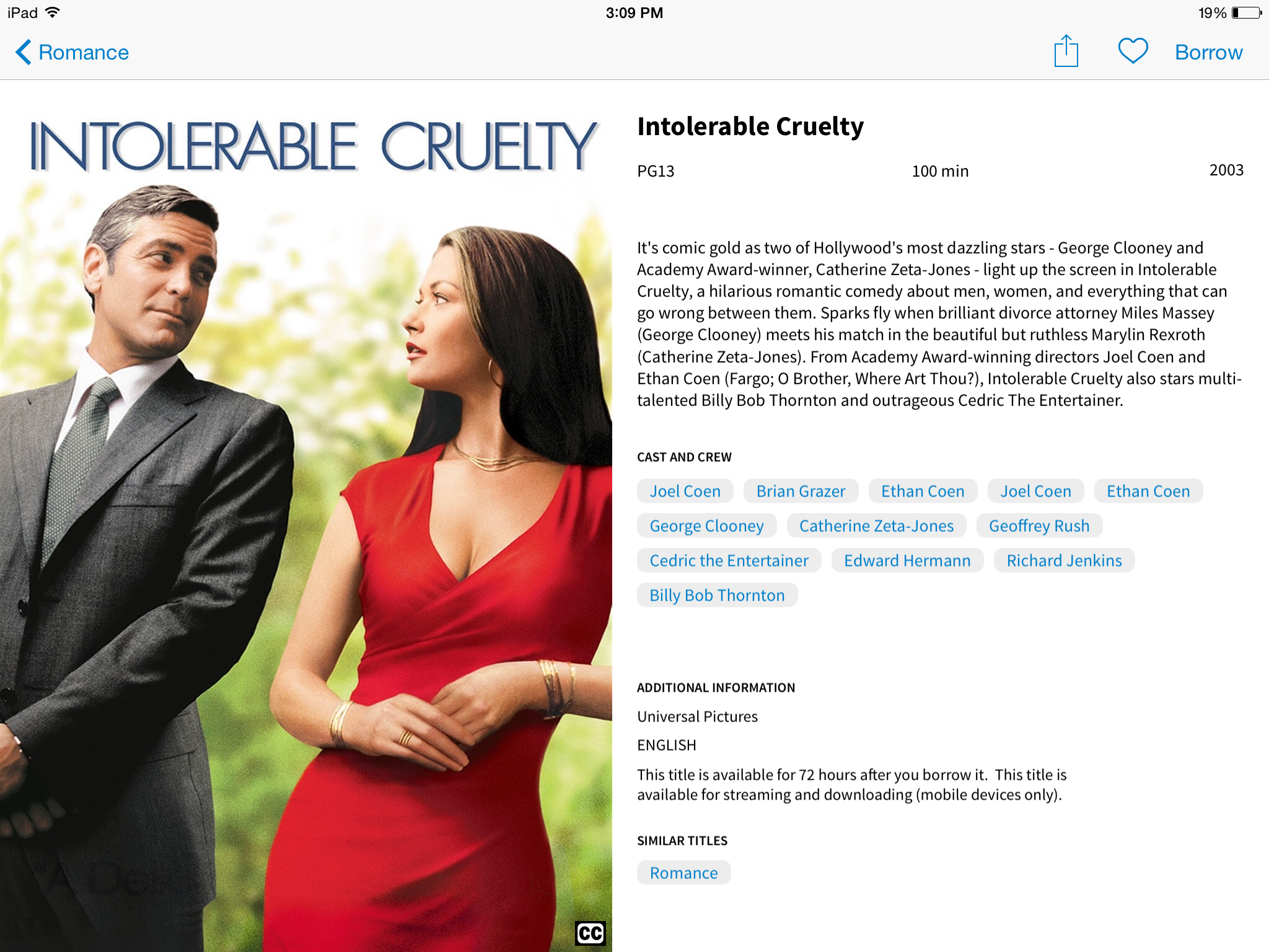 Intolerable Cruelty, as seen on hoopla LightSpeed.