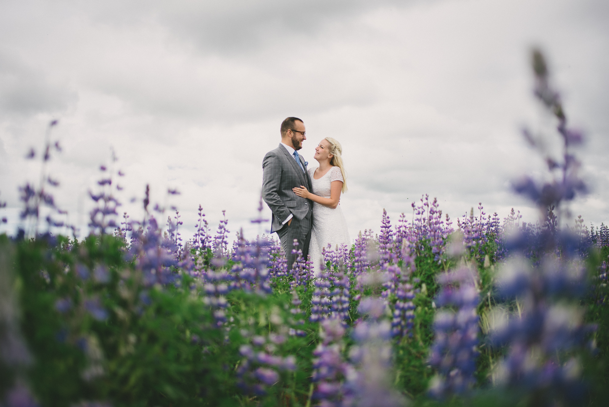 flower field iceland wedding