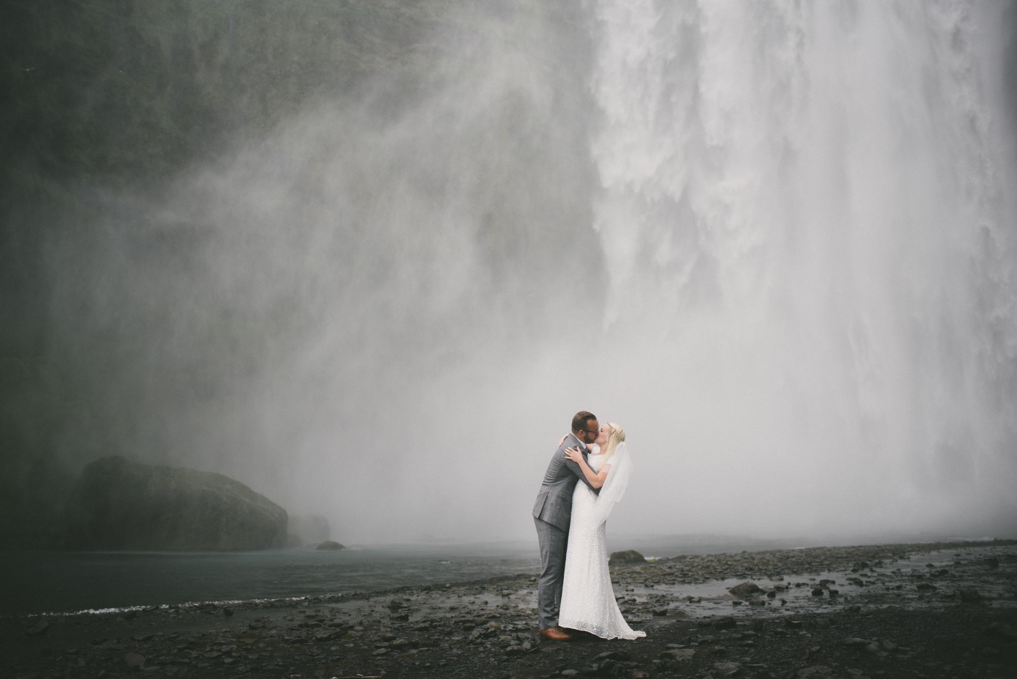 vik wedding skogafoss waterfall