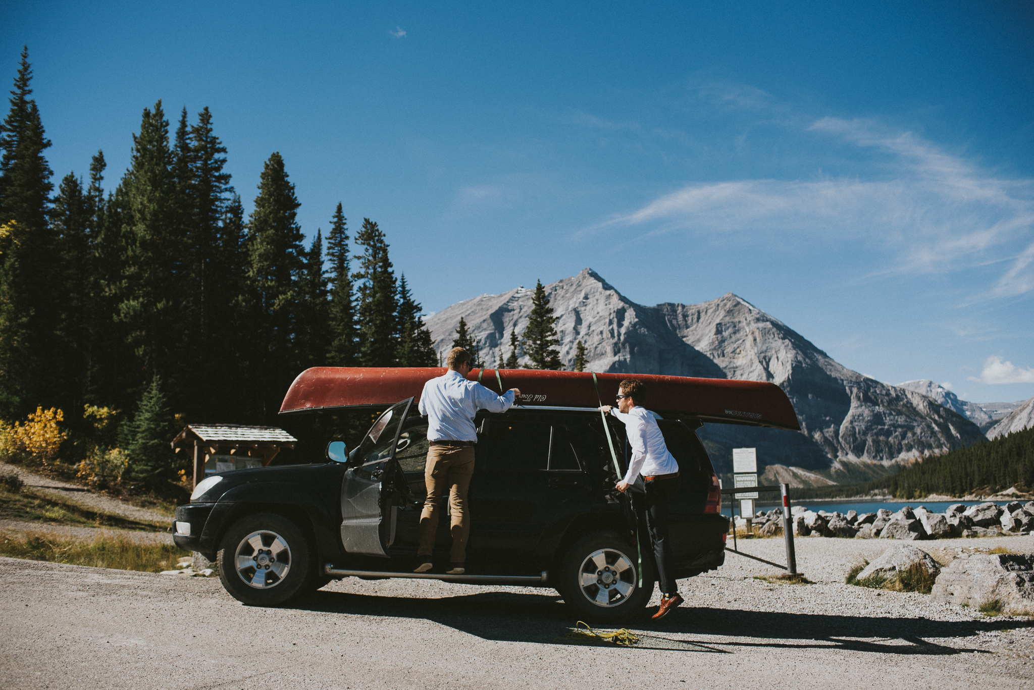 groomsmen car kananaskis elopement