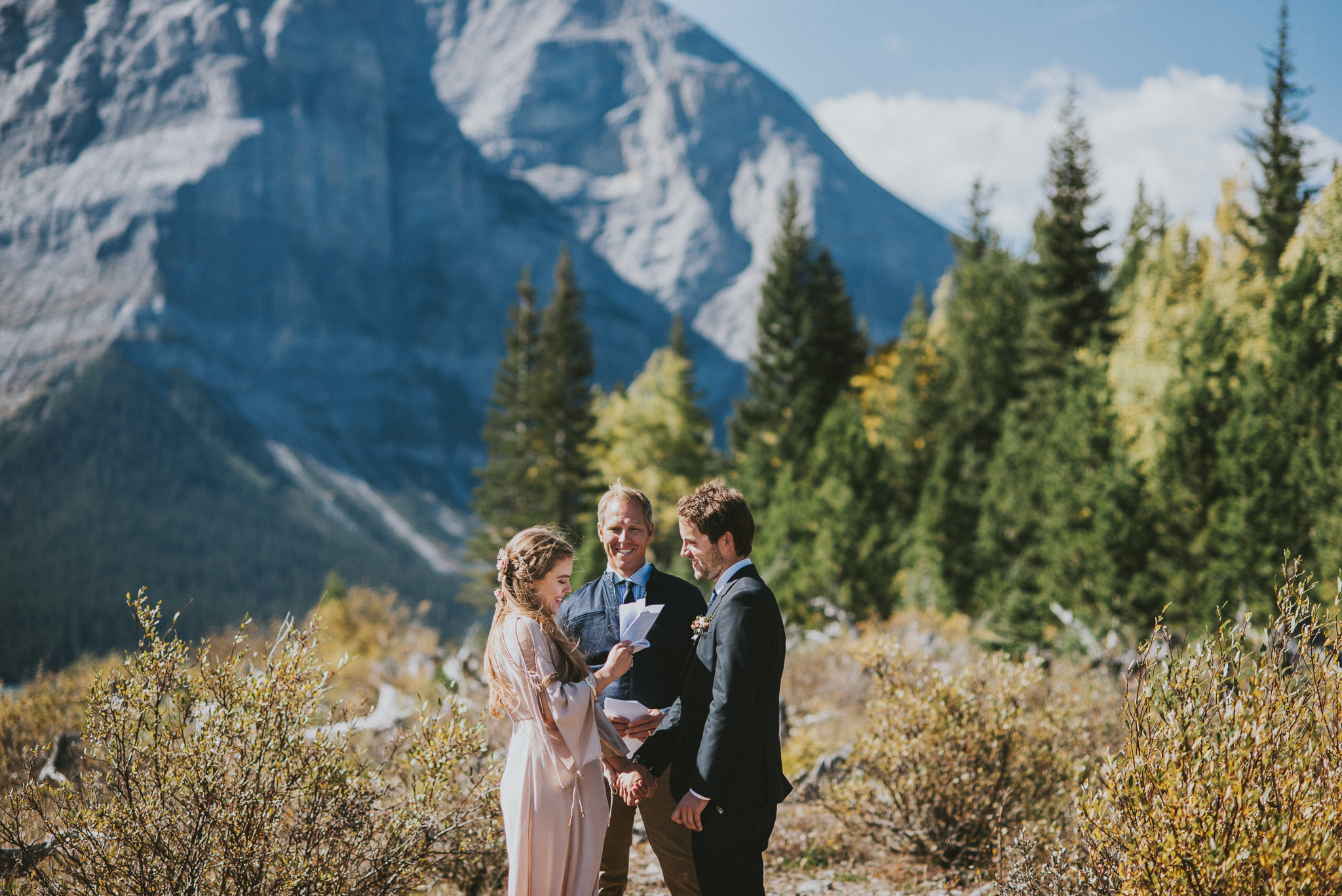 mountains kananaskis elopement bride groom vows
